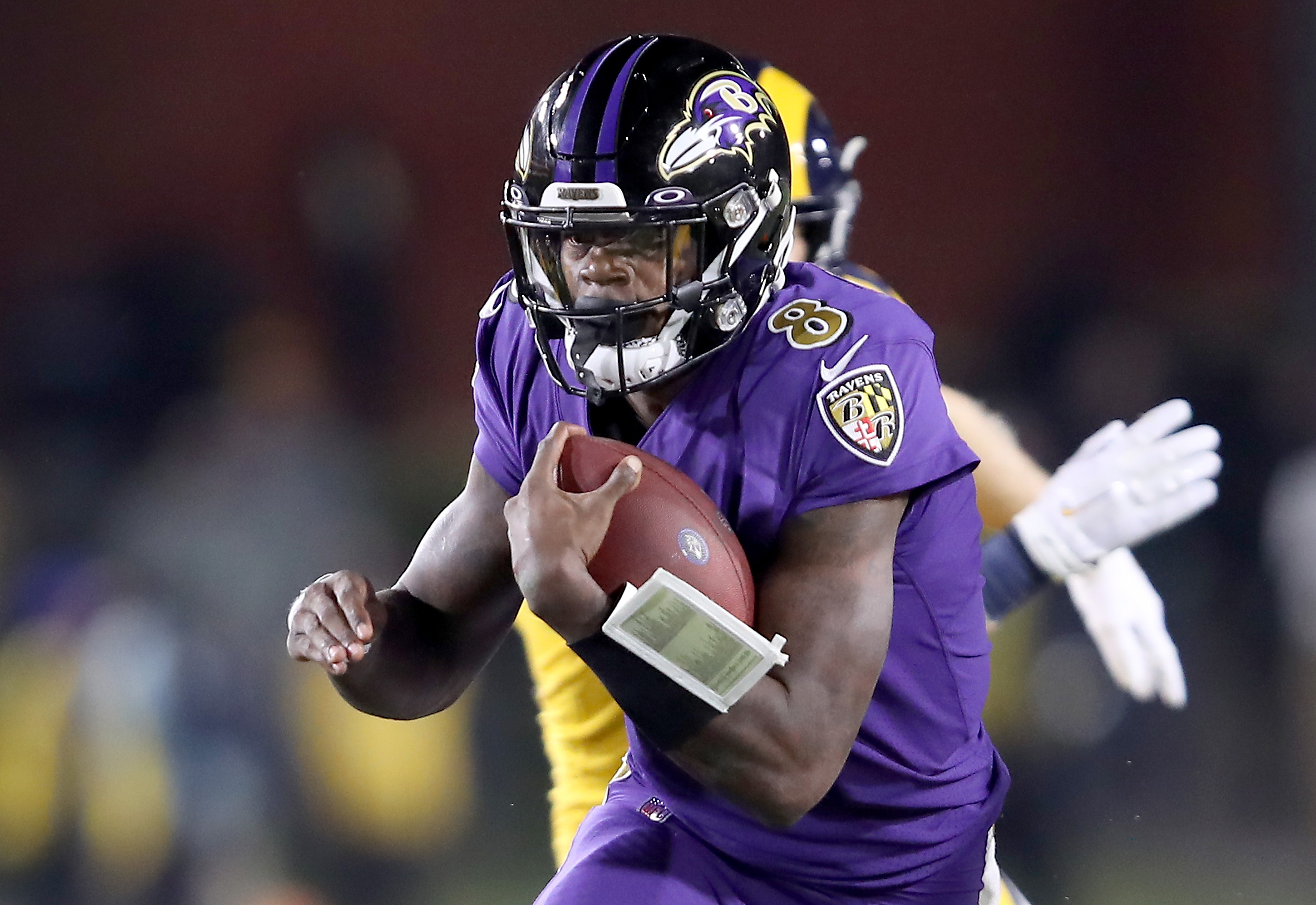 Quarterback Lamar Jackson of the Baltimore Ravens had a phenomenal game against the Rams. (Photo by Sean M. Haffey/Getty Images)