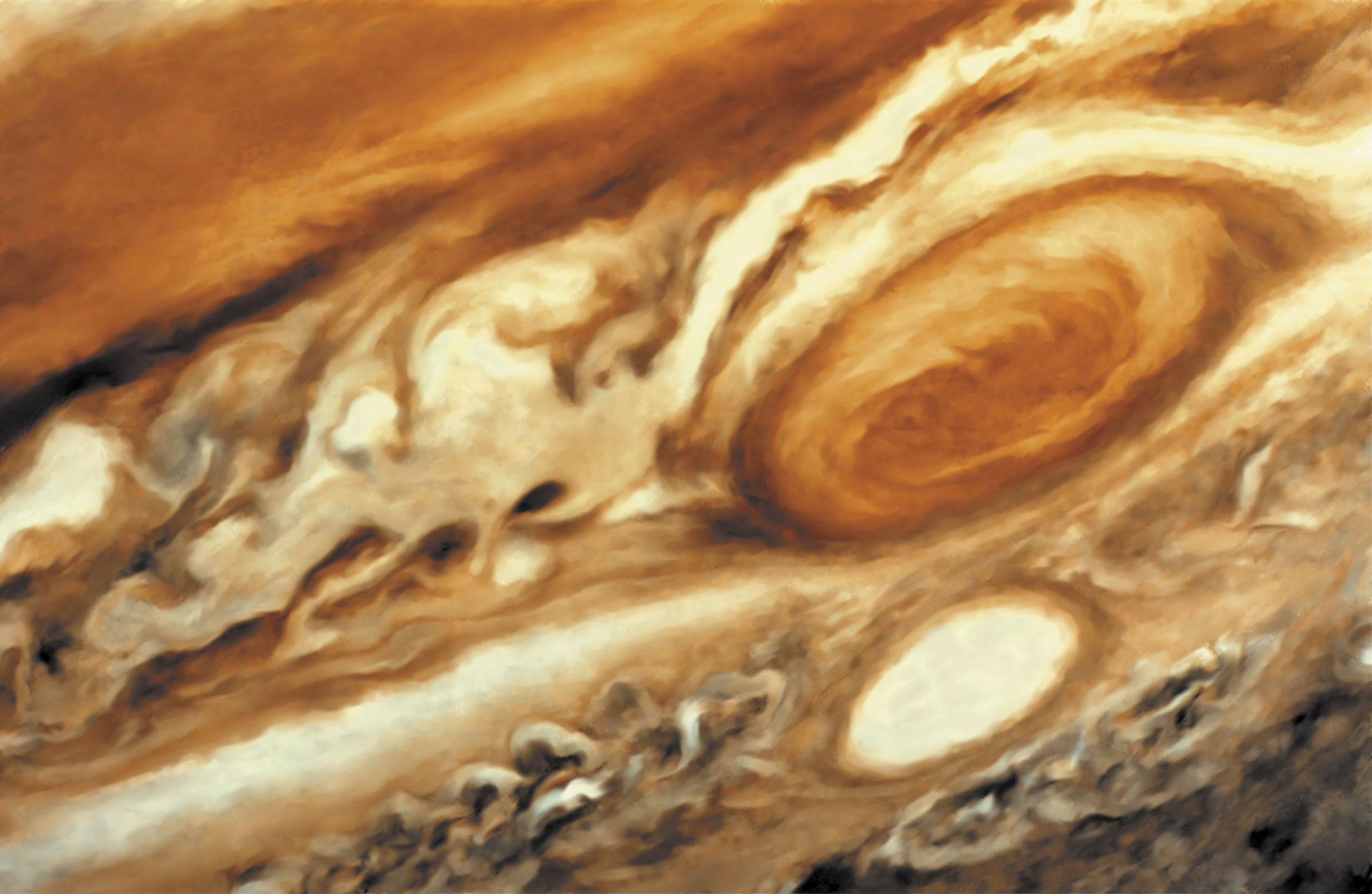 Jupiter, It is thought that the Great Red Spot on Jupiter is a huge storm, twice the size of Earth, with winds of 360 km/h. (Photo by: QAI Publishing/Universal Images Group via Getty Images)