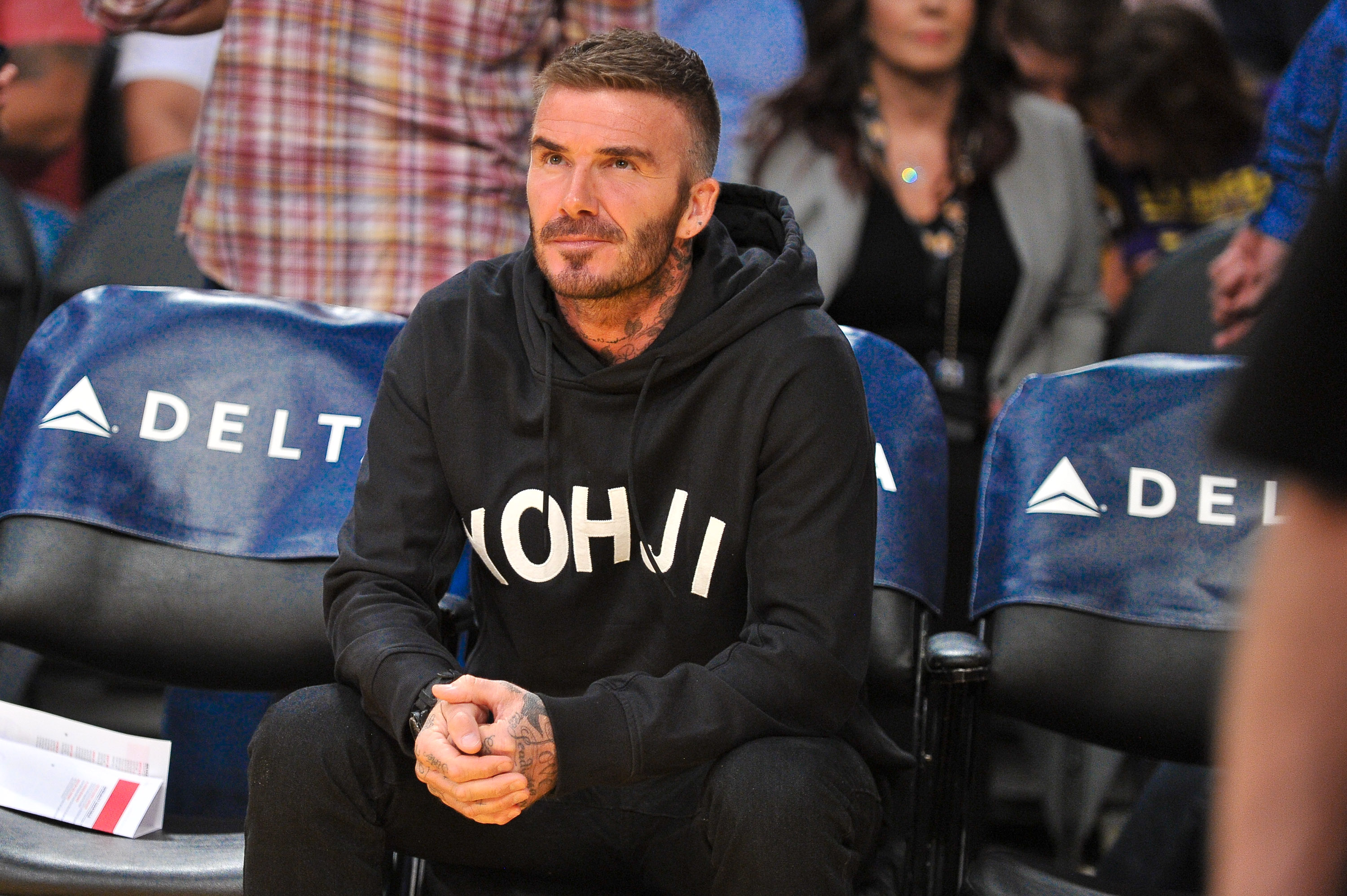 LOS ANGELES, CALIFORNIA - OCTOBER 27: David Beckham attends a basketball game between the Los Angeles Lakers and the Charlotte Hornets at Staples Center on October 27, 2019 in Los Angeles, California. (Photo by Allen Berezovsky/Getty Images)