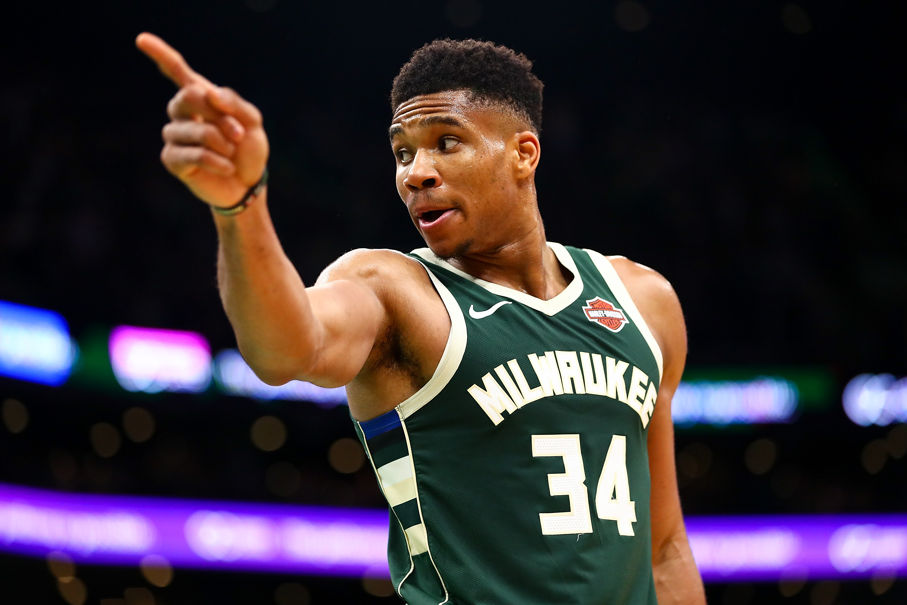 BOSTON, MA - OCTOBER 30:  Giannis Antetokounmpo #34 of the Milwaukee Bucks reacts during a game against the Boston Celtics at TD Garden on October 30, 2019 in Boston, Massachusetts. NOTE TO USER: User expressly acknowledges and agrees that, by downloading and or using this photograph, User is consenting to the terms and conditions of the Getty Images License Agreement. (Photo by Adam Glanzman/Getty Images)