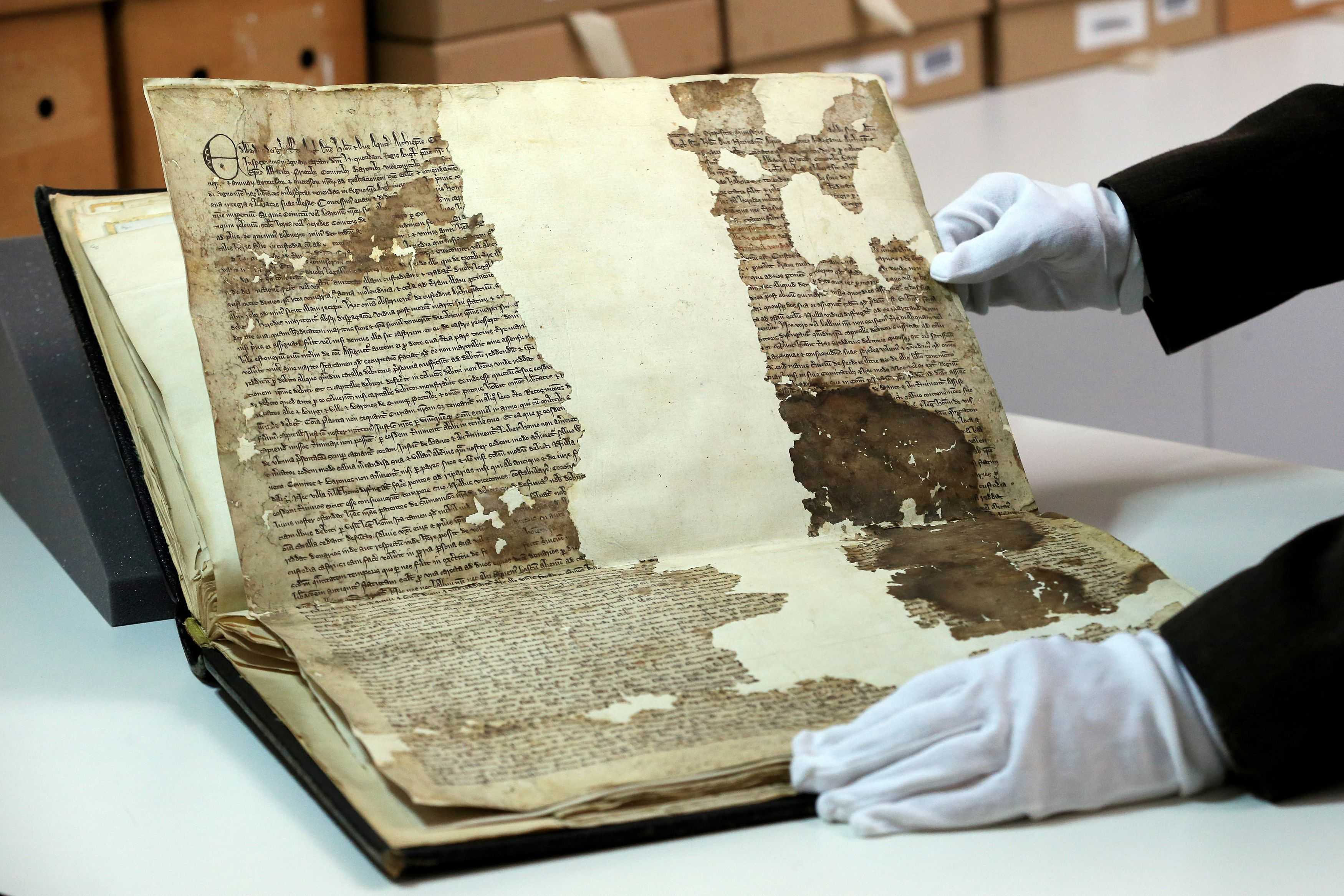 A general view of an original Magna Carta from the issue made in 1300 by King Edward l to the borough of Sandwich in Kent, which has recently been discovered in the archives at Kent County Council's Kent History and Library Centre in Maidstone.