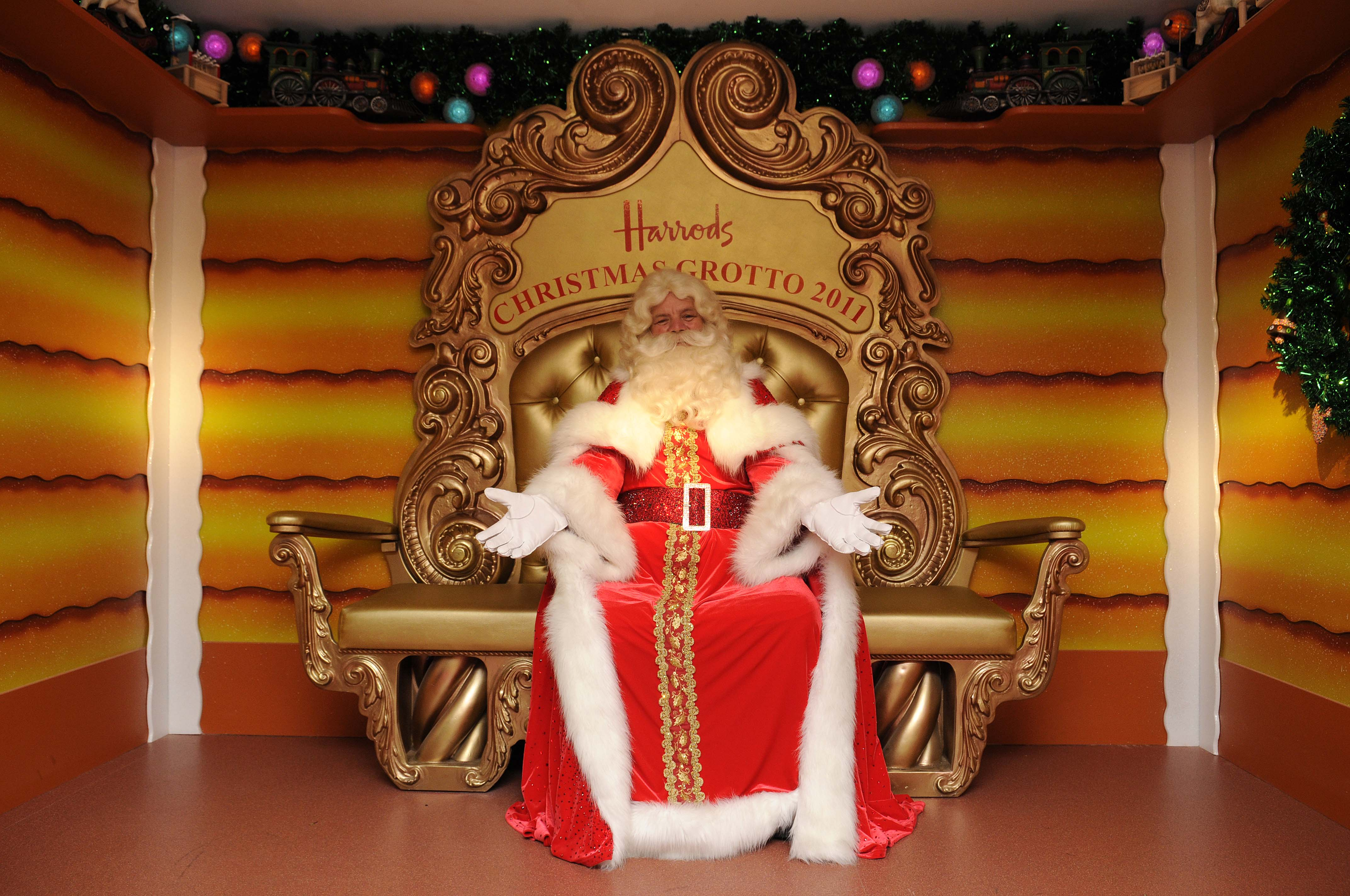 LONDON, UNITED KINGDOM - NOVEMBER 05:  Father Christmas presents Harrods 26th Annual Christmas Parade in the Harrods Christmas Grotto on November 5, in London England. (Photo by Steve Finn/Harrods via Getty Images)