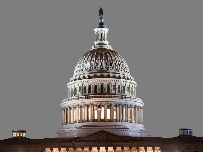 US Capitol dome illuminated, Washington, DC, graphic element on gray