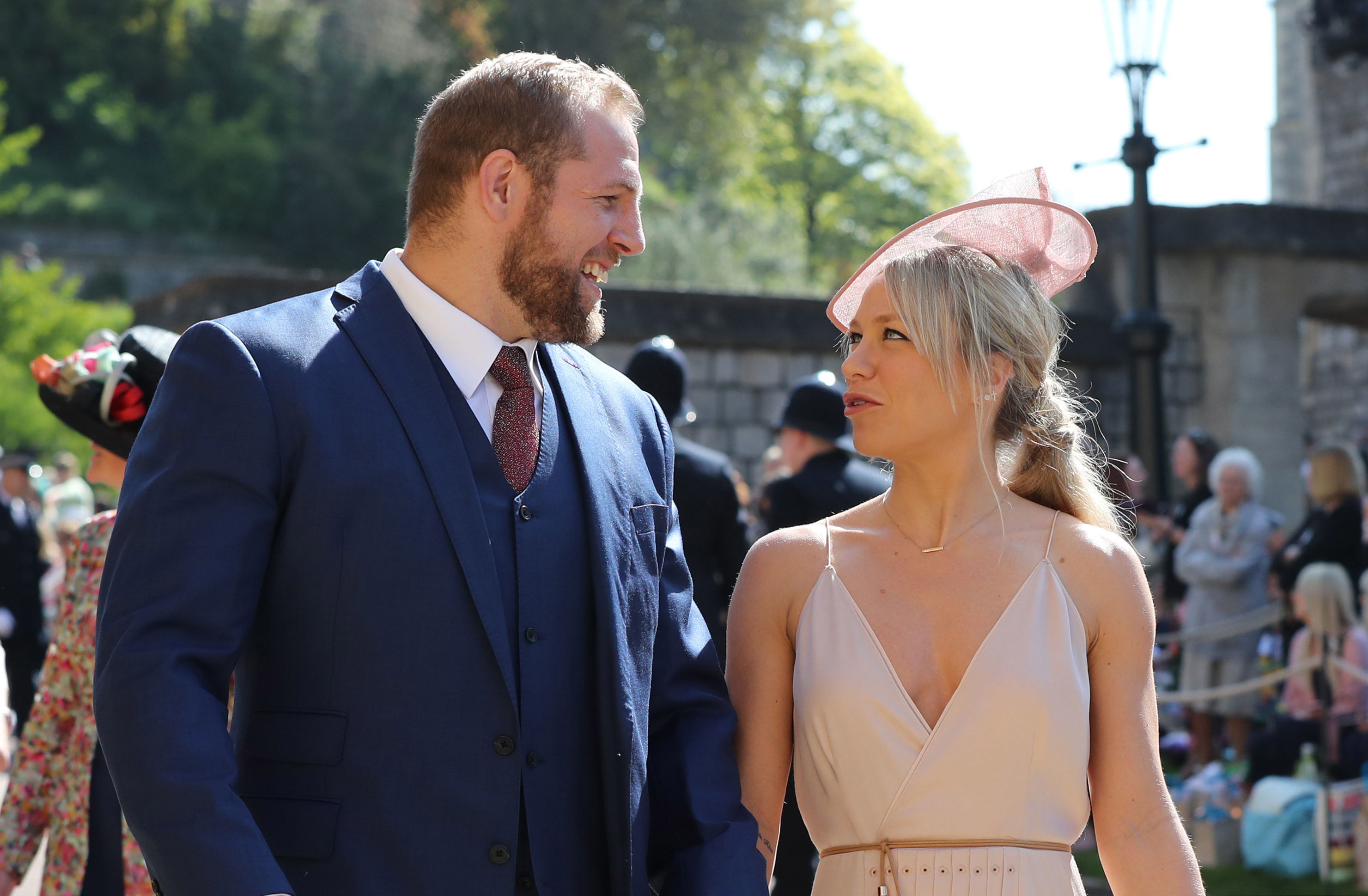 WINDSOR, UNITED KINGDOM - MAY 19:  James Haskell and Chloe Madeley arrive at St George's Chapel at Windsor Castle before the wedding of Prince Harry to Meghan Markle on May 19, 2018 in Windsor, England. (Photo by Gareth Fuller - WPA Pool/Getty Images)