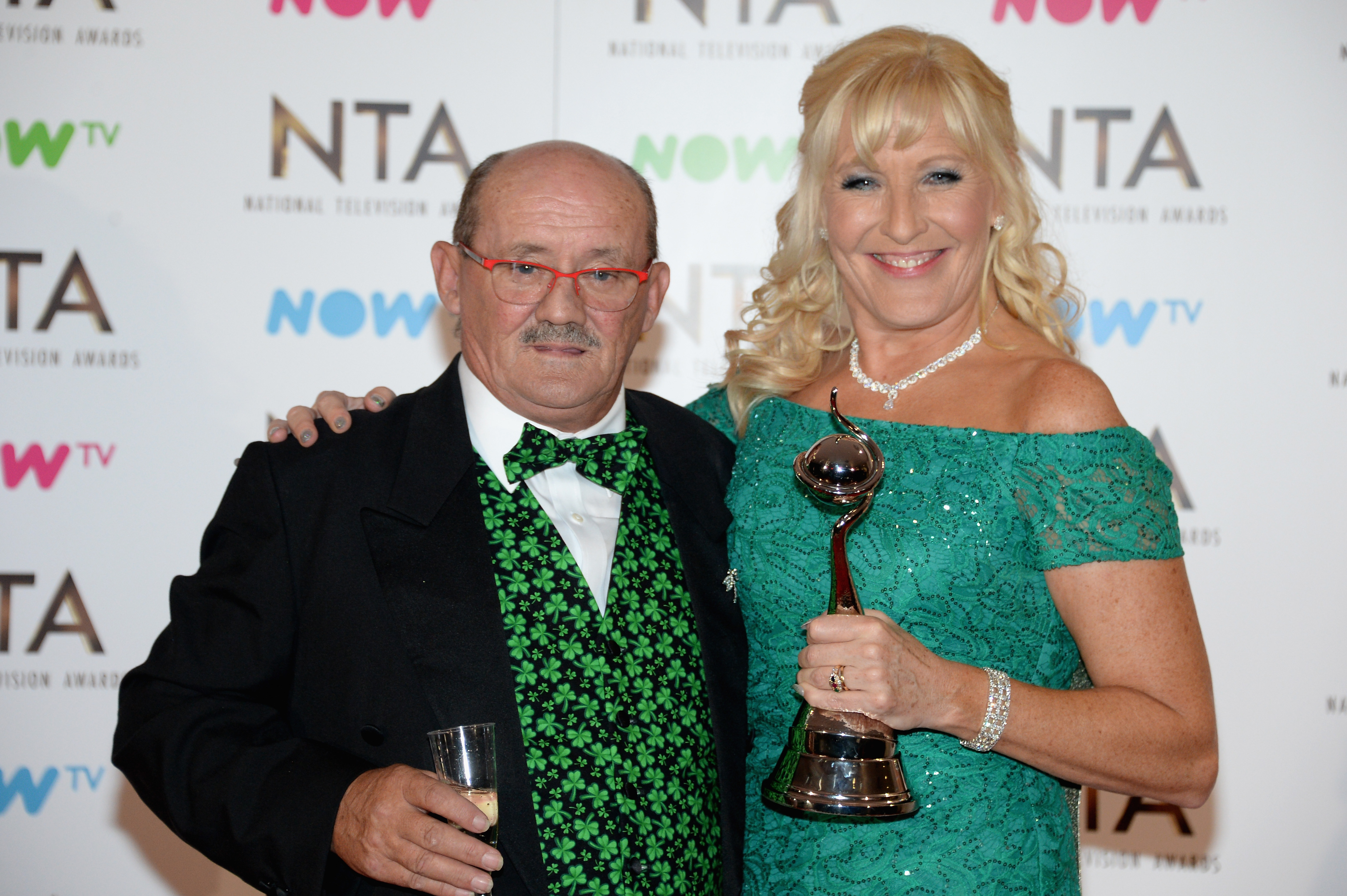 LONDON, ENGLAND - JANUARY 25:  Brendan and Jennifer O'Carroll, winners of the Best Comedy Award for Mrs Brown's Boys during the National Television Awards at The O2 Arena on January 25, 2017 in London, England.  (Photo by Anthony Harvey/Getty Images)