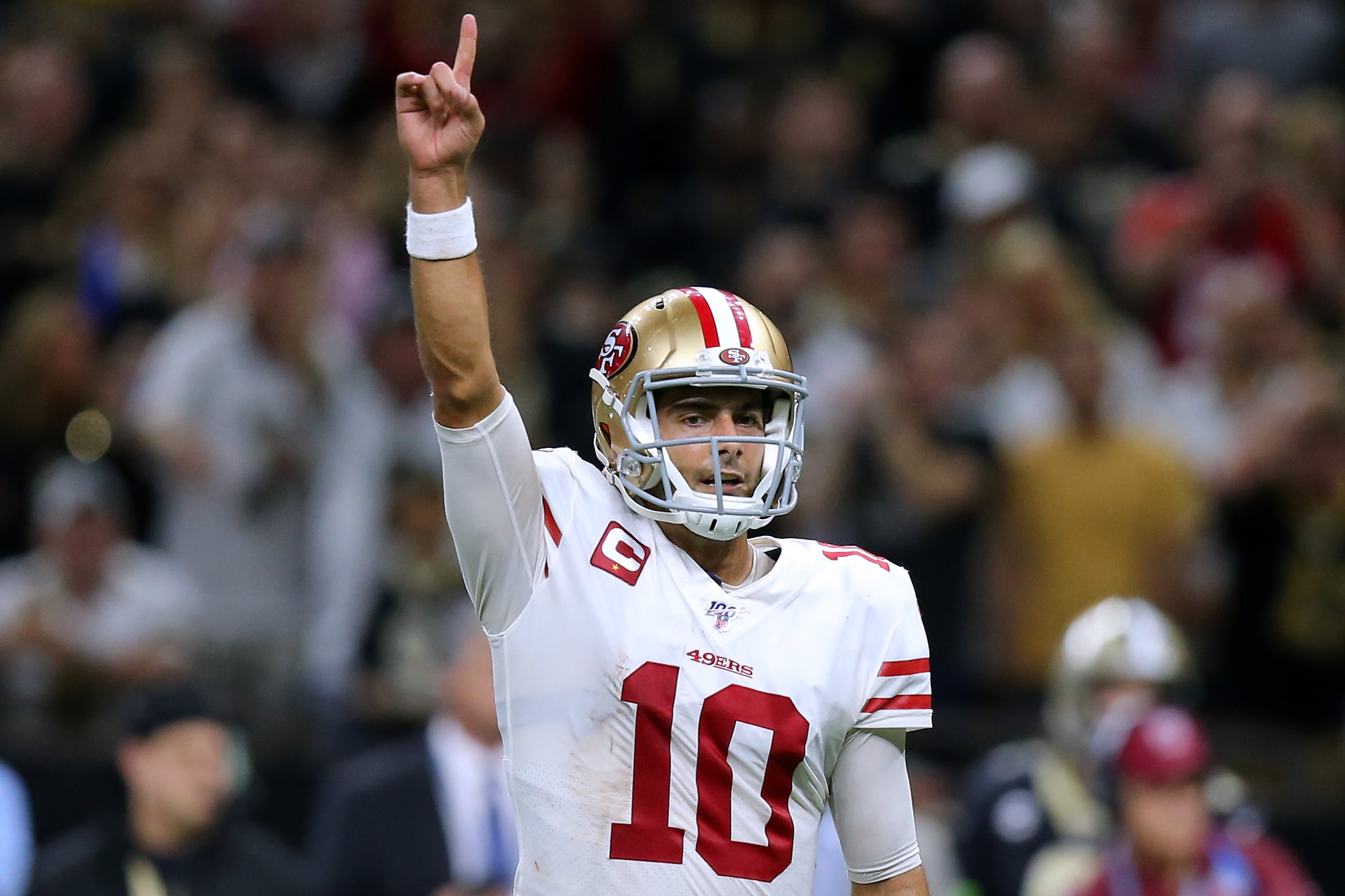 Jimmy Garoppolo and the 49ers battled to the last second and emerged victorious against the Saints. (Photo by Jonathan Bachman/Getty Images)