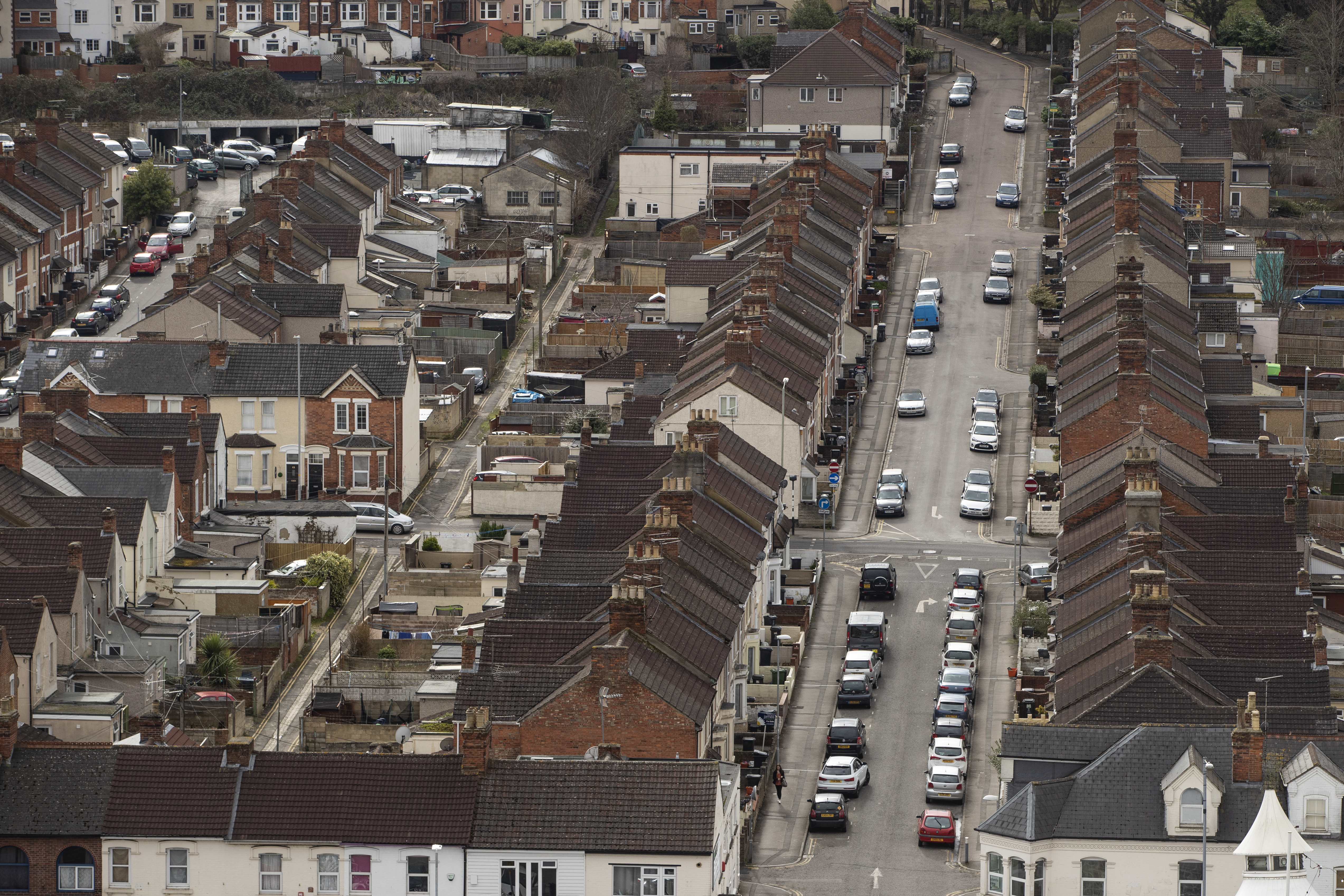 SWINDON, ENGLAND - FEBRUARY 20: A general view over housing on the edge of the town centre on February 20, 2019 in Swindon, England. The factory is Honda's only EU plant and has produced the Honda's 'Civic' model for over 24 years, with 150,000 of the cars rolling off the line annually. The manufacturer is a major employer in the town of around 220,000 and sits on the M4 corridor between London to the East and Bristol to the West. In 1986 one of the towns last major employers GWR (Great Western Railway) closed it's doors after a 140 year history of Railway locomotive manufacture putting around 1,500 people out of work.  (Photo by Dan Kitwood/Getty Images)