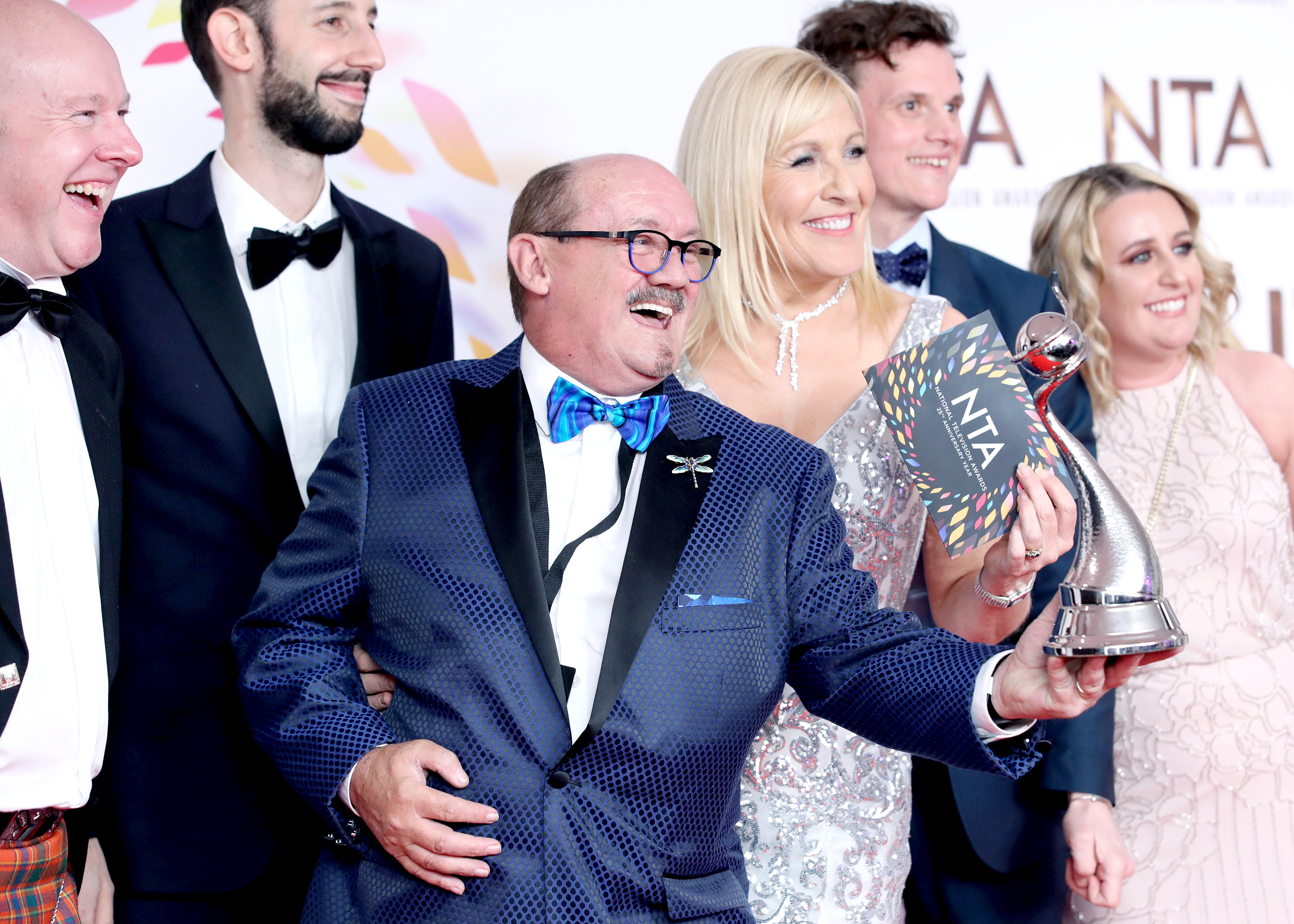 """Brendan O'Carroll accepting the Comedy award for """"Mrs Brown's Boys"""", pose in the winners room  during the National Television Awards 2020 at The O2 Arena on January 28, 2020 in London, England. (Photo by Mike Marsland/WireImage)"""