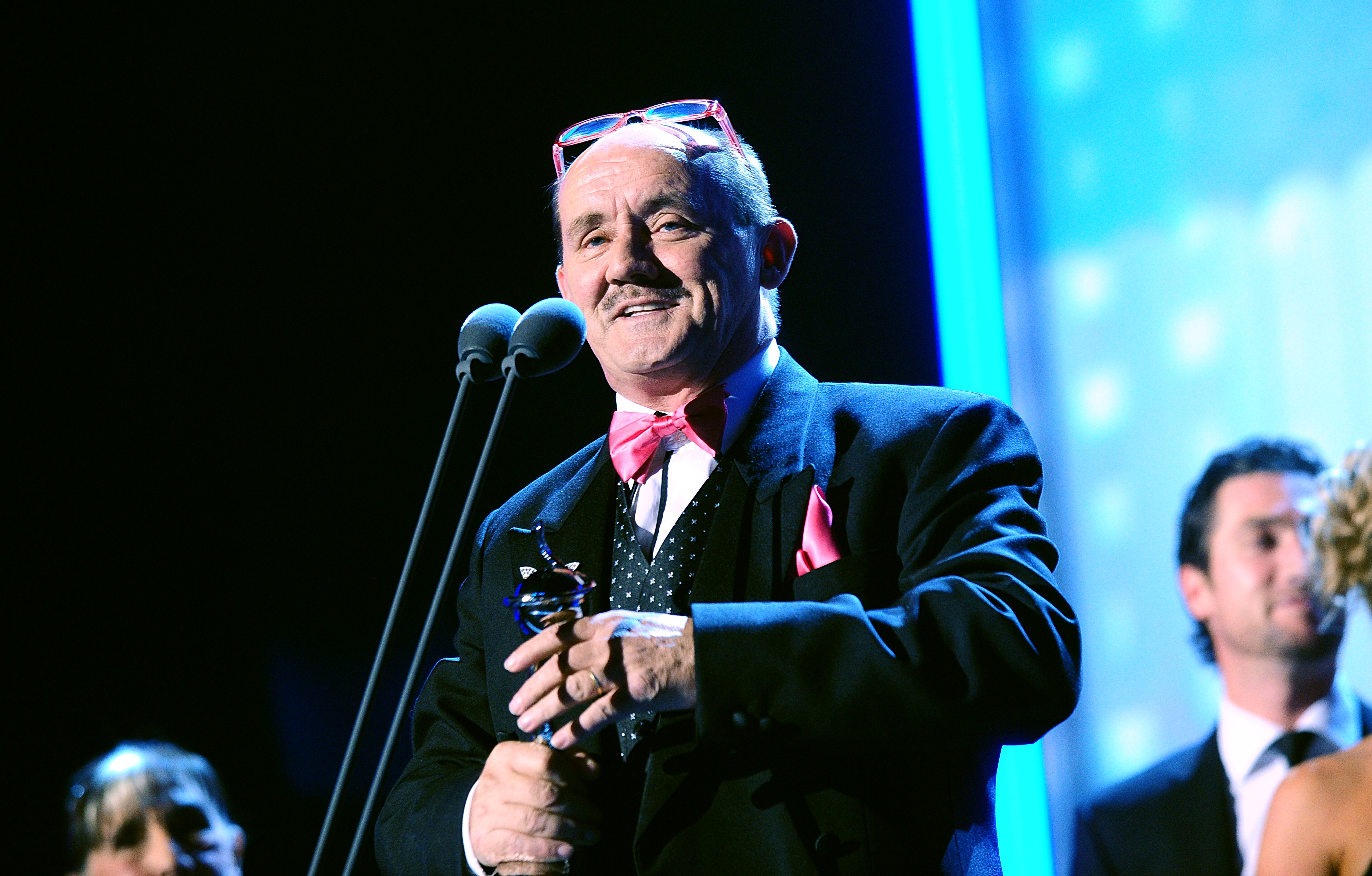 Brendan O'Carroll collects the Best Sitcom award received for Mrs Brown's Boys during the 2013 National Television Awards at the O2 Arena, London.   (Photo by Ian West/PA Images via Getty Images)