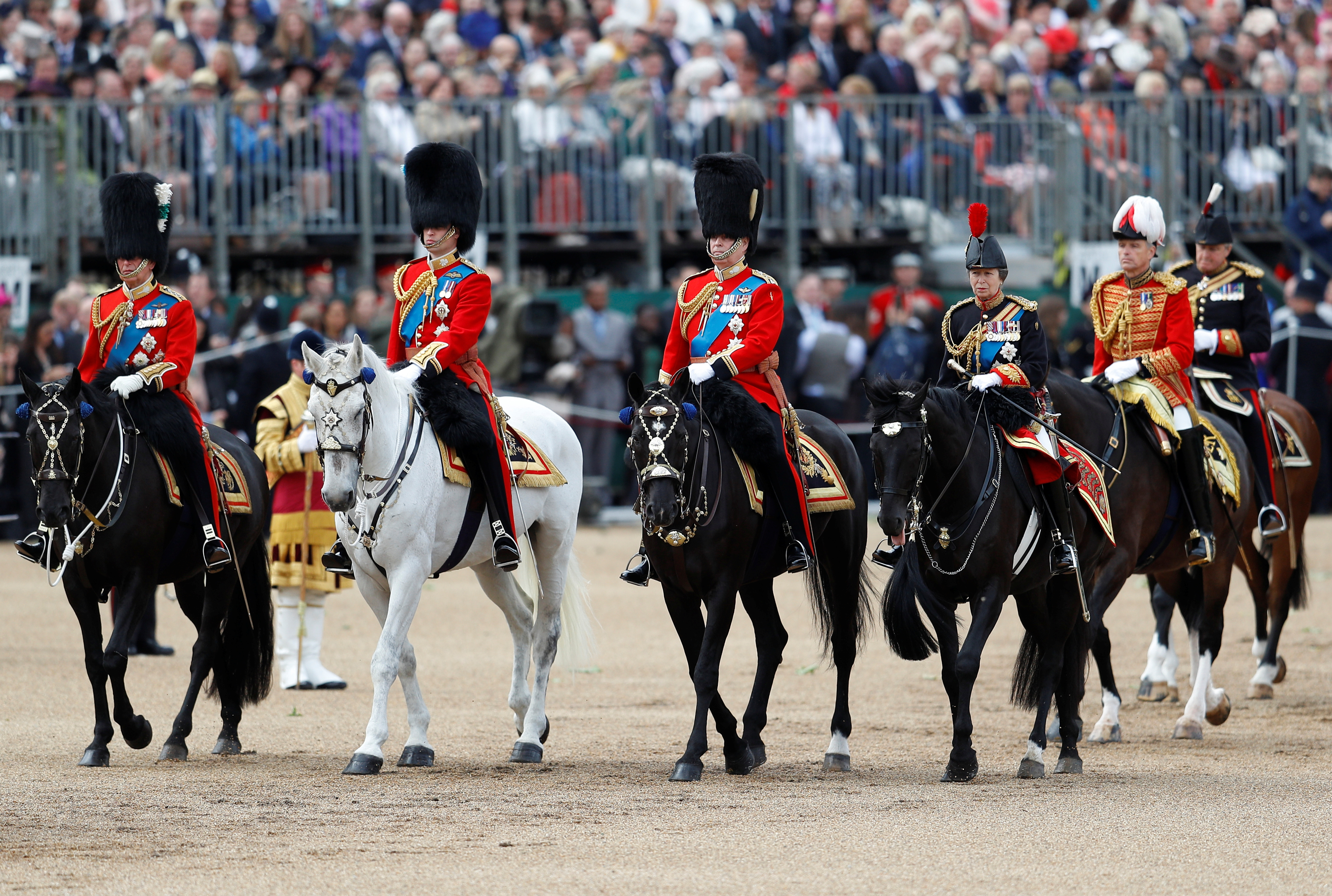 Britain's Prince Charles, Prince William, Prince Andrew and Princess Anne take part in the Trooping the Colour parade in central London, Britain June 8, 2019. REUTERS/Peter Nicholls