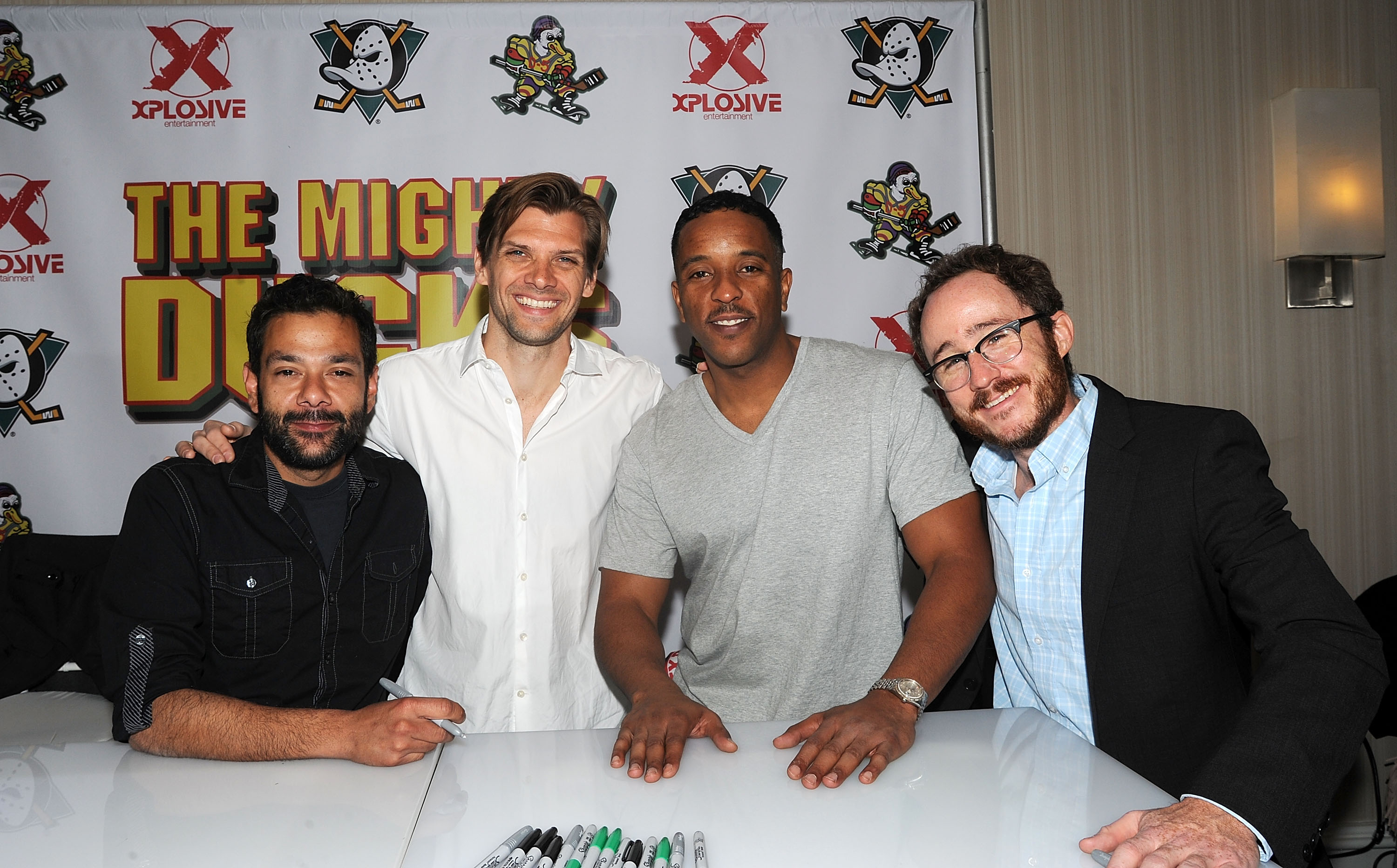 "PARSIPPANY, NJ - APRIL 25:  Shaun Weiss, Vincent La Russo, Brandon Quintin Adams and Matt Doherty from the movie ""The Mighty Ducks"" attends day 2 of the Chiller Theater Expo at Sheraton Parsippany Hotel on April 25, 2015 in Parsippany, New Jersey.  (Photo by Bobby Bank/WireImage)"