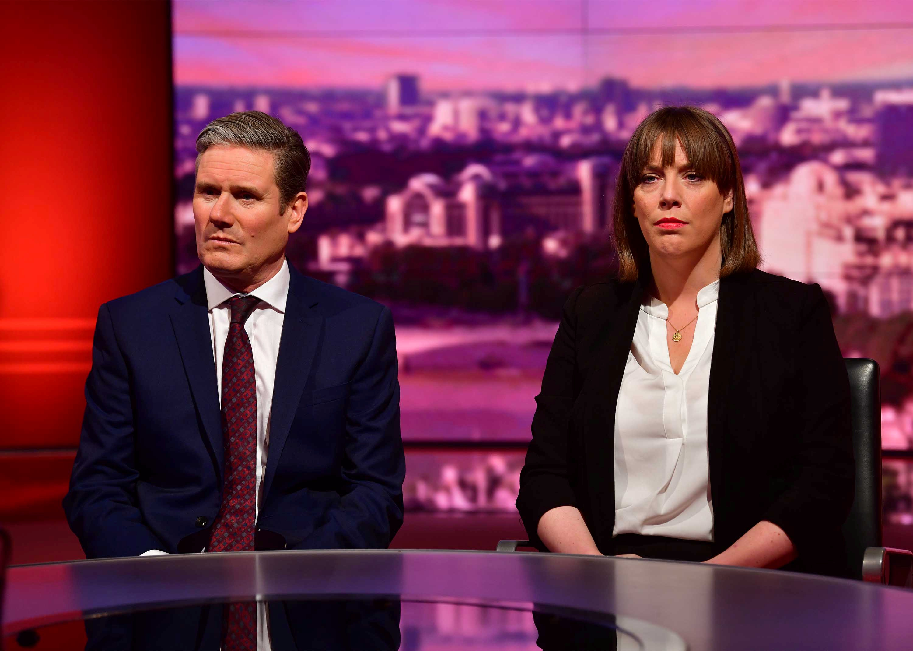 Britain's Labour MP Jess Phillips and opposition Labour Party Shadow Brexit Secretary Keir Starmer appear on BBC TV's The Andrew Marr Show in London, Britain January 5, 2020. Jeff Overs/BBC/Handout via REUTERS ATTENTION EDITORS - THIS IMAGE HAS BEEN SUPPLIED BY A THIRD PARTY. NO RESALES. NO ARCHIVES. NOT FOR USE MORE THAN 21 DAYS AFTER ISSUE.
