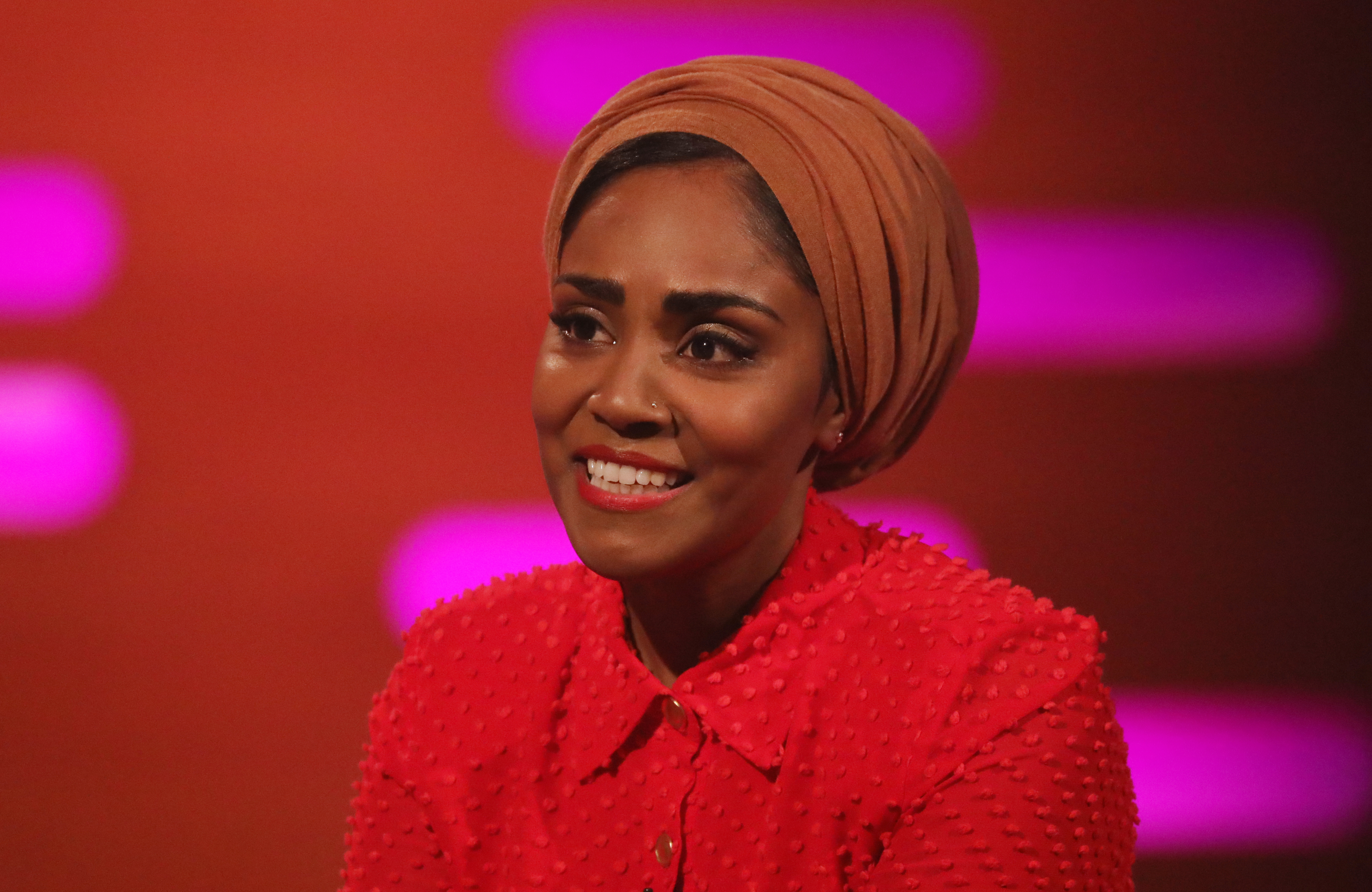TV chef Nadiya Hussain during the filming for the Graham Norton Show at BBC Studioworks 6 Television Centre, Wood Lane, London, to be aired on BBC One on Friday evening. (Photo by Isabel Infantes/PA Images via Getty Images)