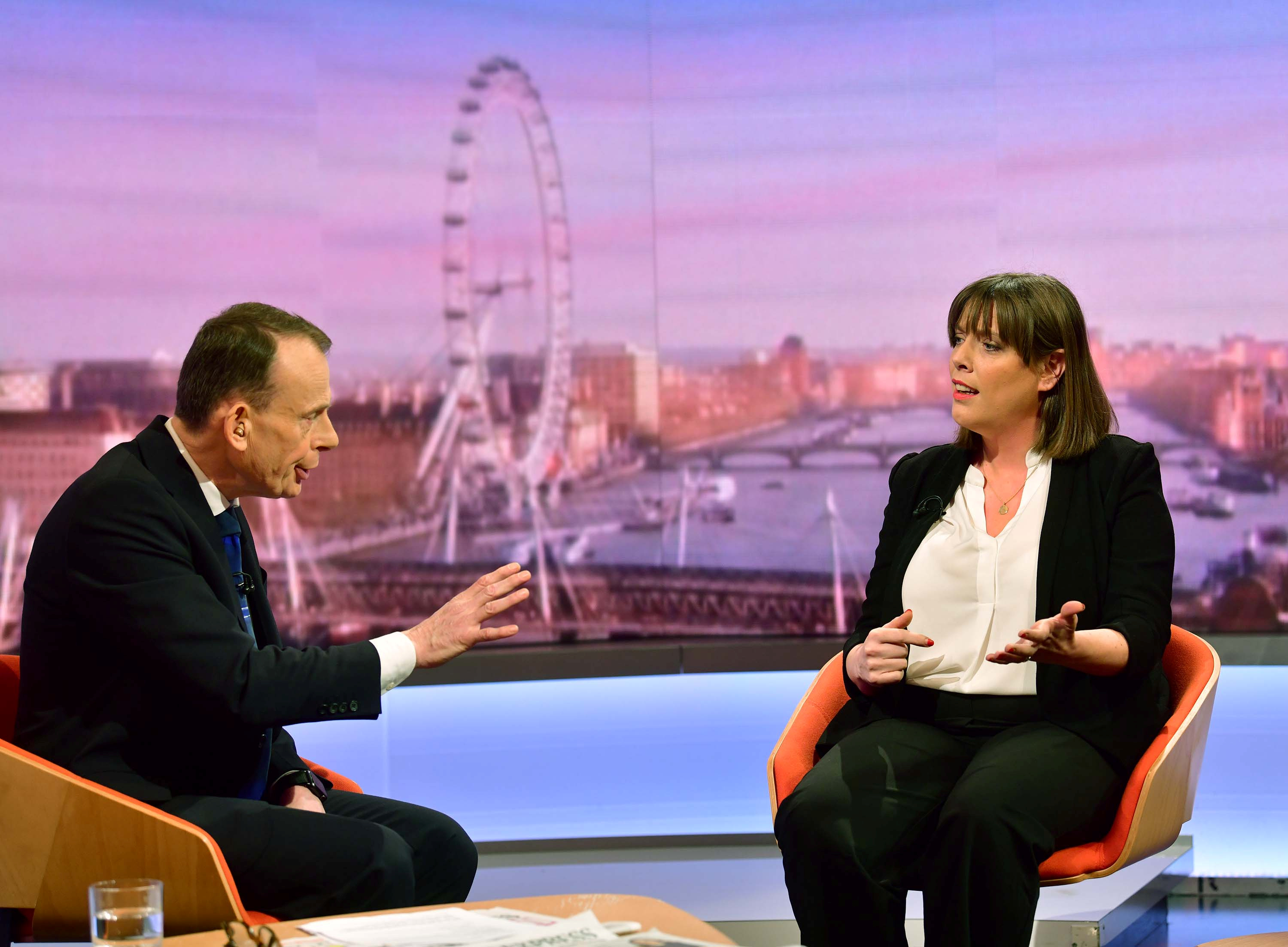 Britain's Labour MP Jess Phillips appears on BBC TV's The Andrew Marr Show in London, Britain January 5, 2020. Jeff Overs/BBC/Handout via REUTERS ATTENTION EDITORS - THIS IMAGE HAS BEEN SUPPLIED BY A THIRD PARTY. NO RESALES. NO ARCHIVES. NOT FOR USE MORE THAN 21 DAYS AFTER ISSUE.