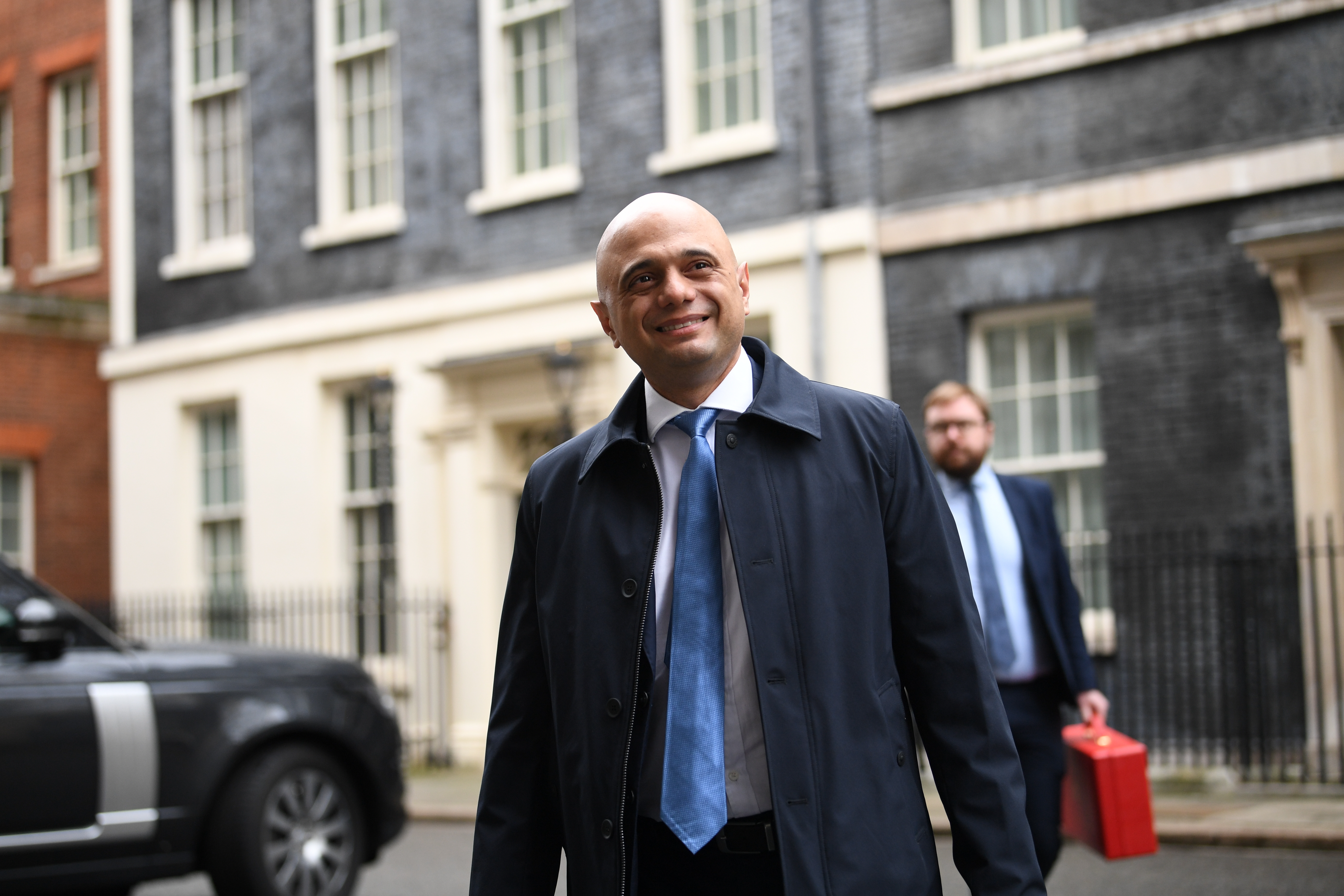 Chancellor of the Exchequer Sajid Javid leaves Downing Street, London, after the first Cabinet meeting of the year.