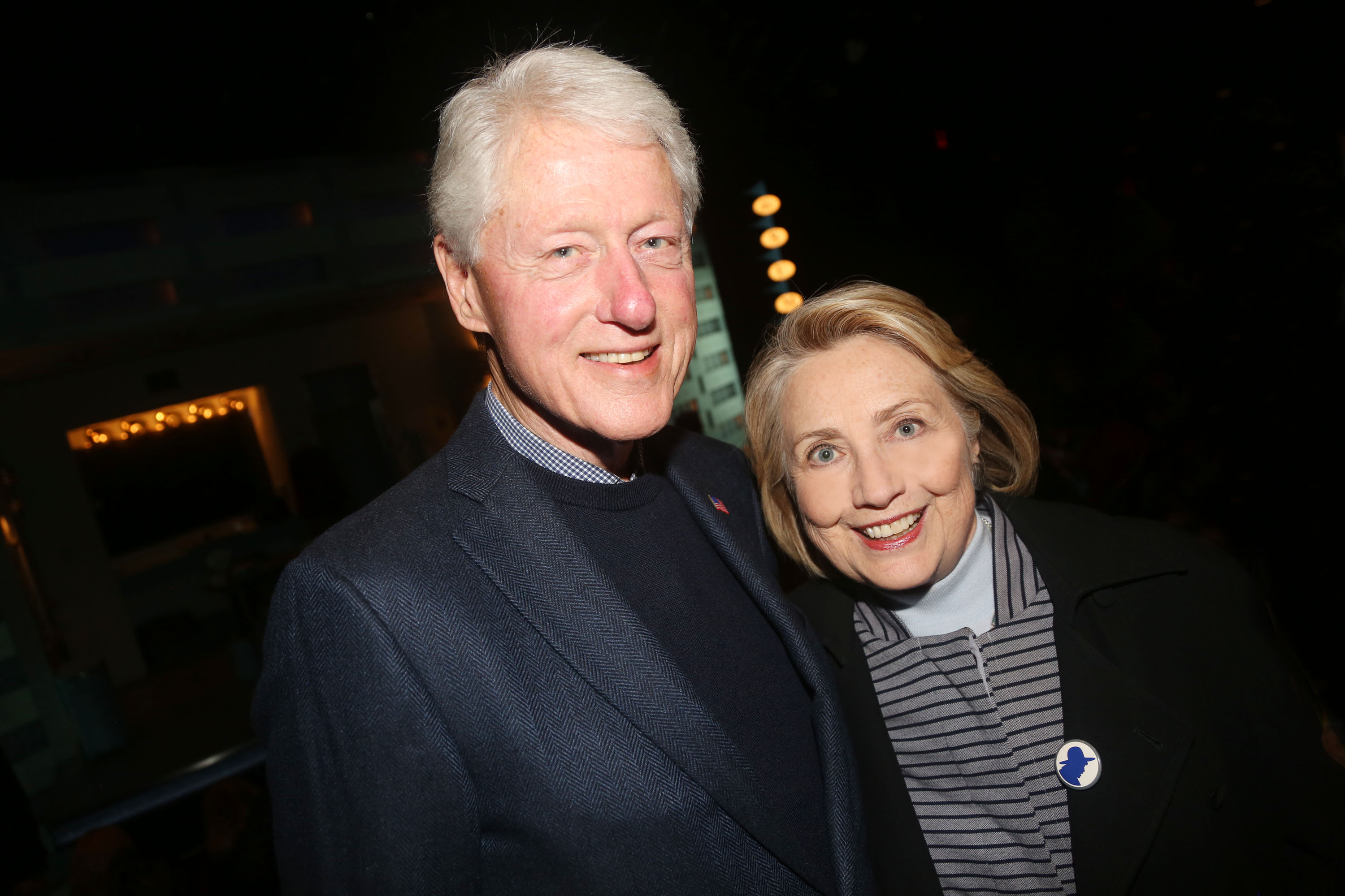 "NEW YORK,NEW YORK - OCTOBER 22: (EXCLUSIVE COVERAGE) 42nd President of the United States Bill Clinton and 67th United States secretary of state Hillary Rodham Clinton pose at the opening night of the new Manhattan Theatre Club play ""Bella Bella"" at MTC Stage 1 Theatre at City Center on October 22, 2019 in New York City. (Photo by Bruce Glikas/Getty Images)"