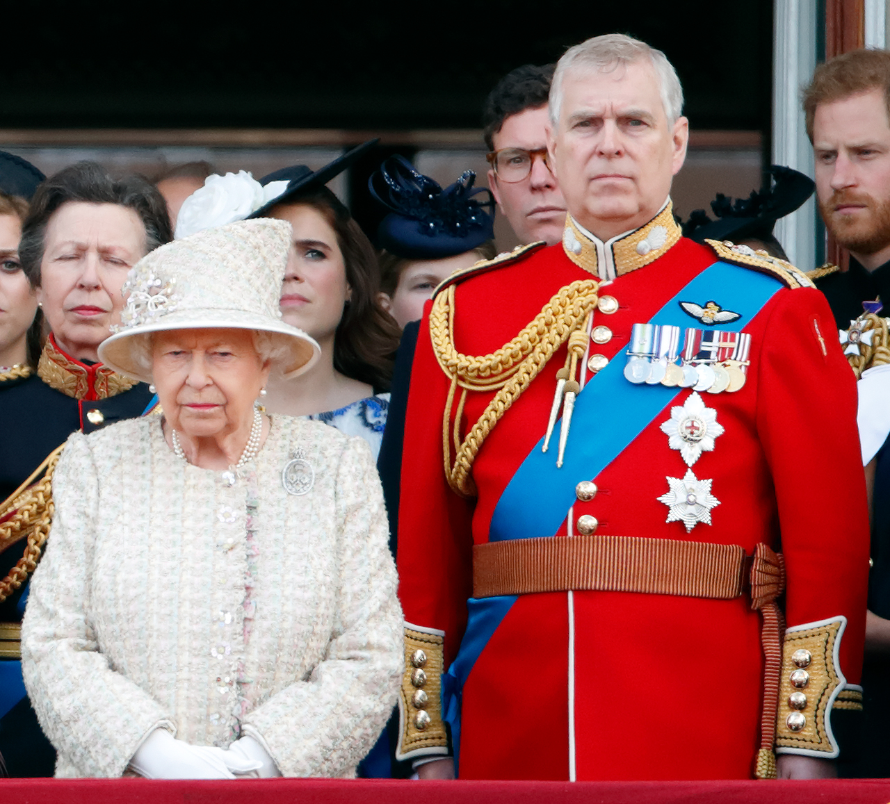 LONDON, UNITED KINGDOM - JUNE 08: (EMBARGOED FOR PUBLICATION IN UK NEWSPAPERS UNTIL 24 HOURS AFTER CREATE DATE AND TIME) Queen Elizabeth II and Prince Andrew, Duke of York watch a flypast from the balcony of Buckingham Palace during Trooping The Colour, the Queen's annual birthday parade, on June 8, 2019 in London, England. The annual ceremony involving over 1400 guardsmen and cavalry, is believed to have first been performed during the reign of King Charles II. The parade marks the official birthday of the Sovereign, although the Queen's actual birthday is on April 21st. (Photo by Max Mumby/Indigo/Getty Images)
