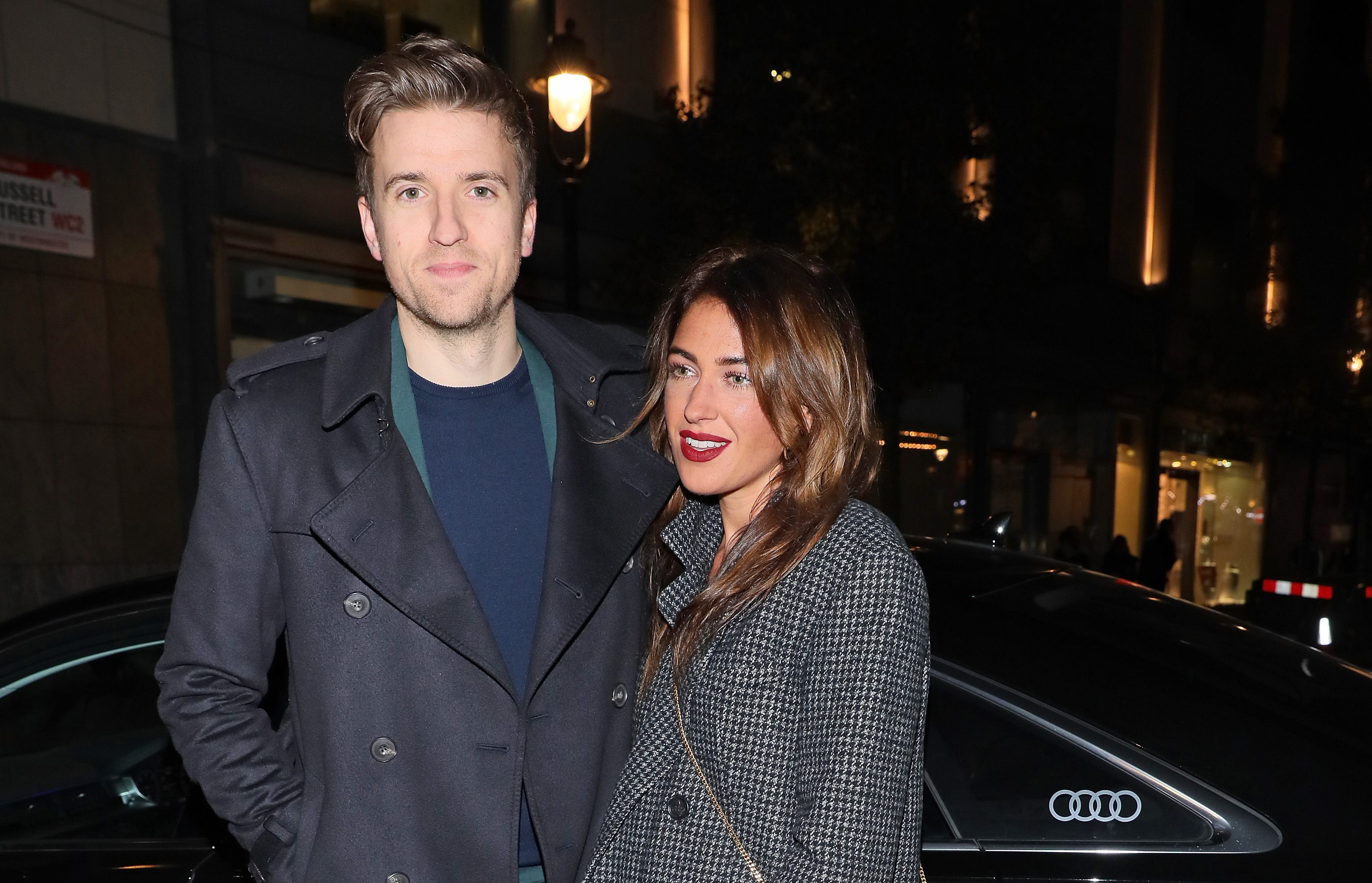 Greg James and Bella Mackie arrive in an Audi at British GQ's 30 Years Anniversary Celebration at SUSHISAMBA on October 29, 2018 in London, Englan  (Photo by David M. Benett/Dave Benett/Getty Images for Audi UK)
