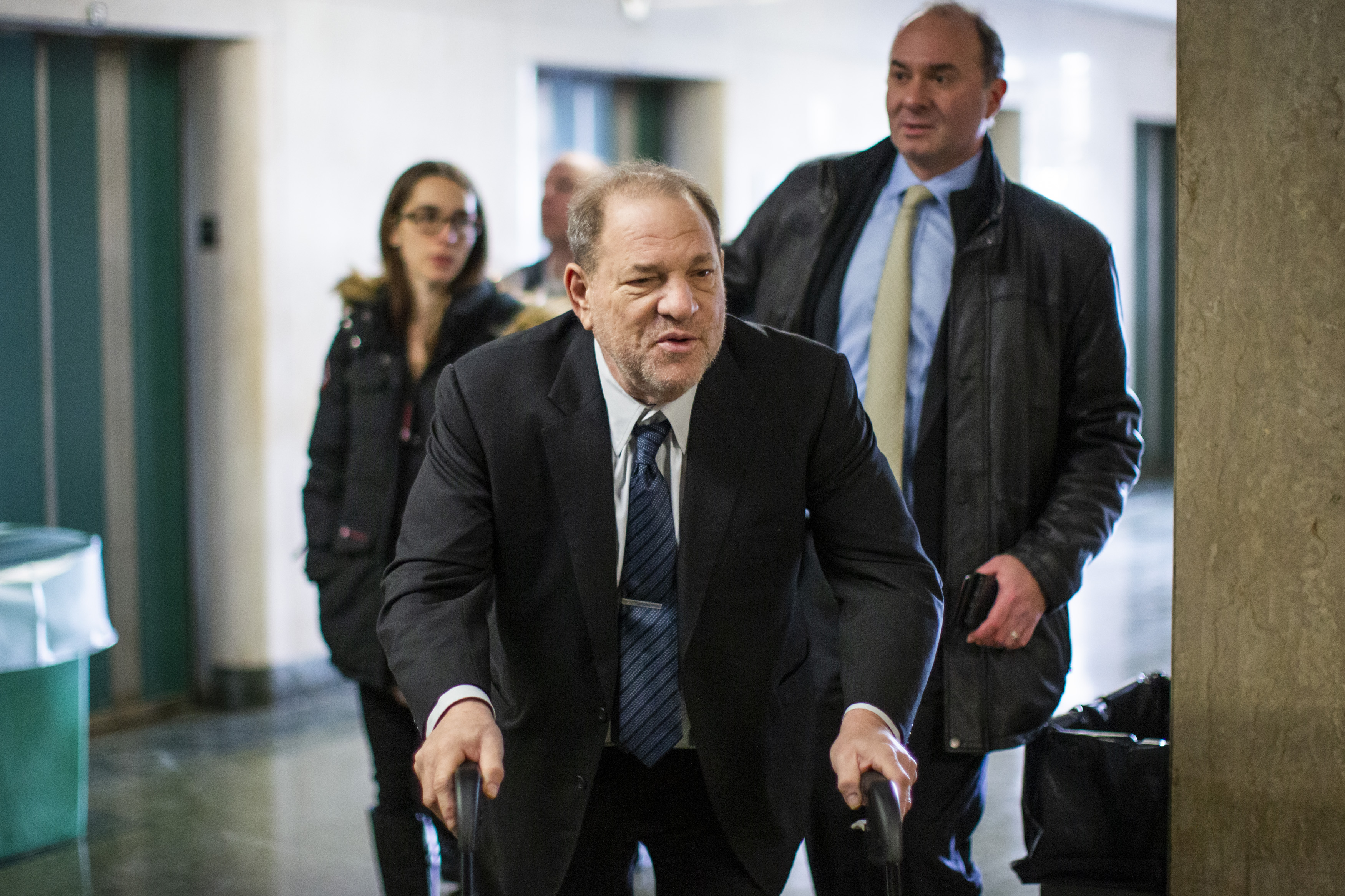 Harvey Weinstein arrives at the courtroom for his sexual assault trial at Manhattan criminal court on Feb. 3, 2020 in New York City