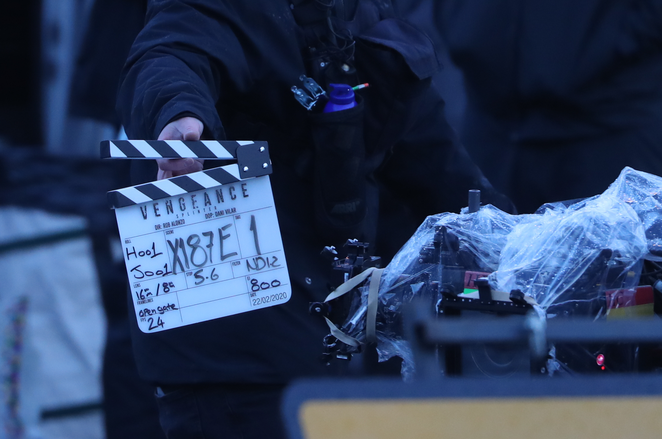 A clapperboard is clicked as filming continues in Glasgow for a new movie for the Batman superhero franchise. (Photo by Andrew Milligan/PA Images via Getty Images)