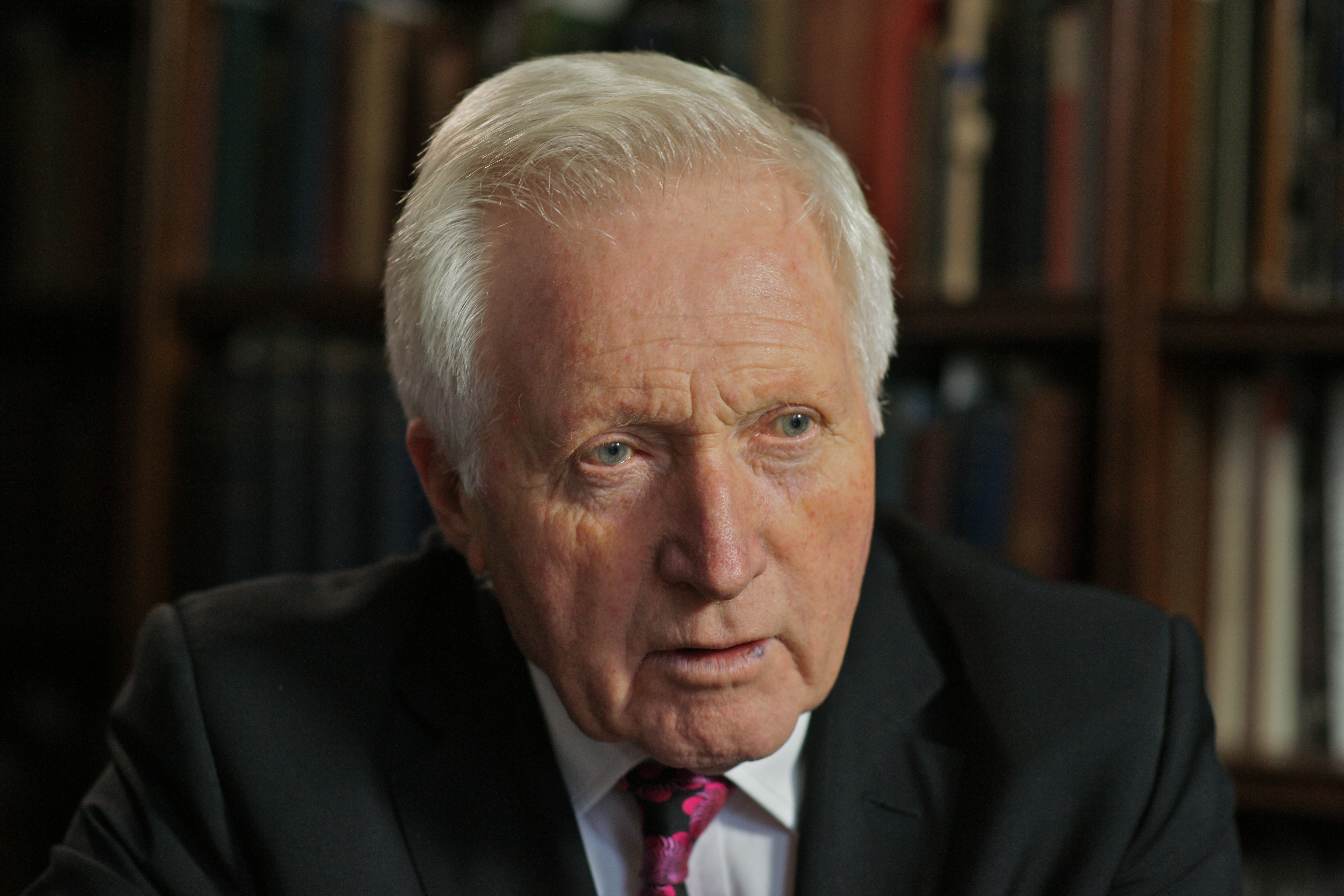 British journalist David Dimbleby appears on the Andre Singer documentary 'Night Will Fall', which researches the making of the German Concentration Camps Factual Survey, 2014.  (Photo by Richard Blanshard/Getty Images)