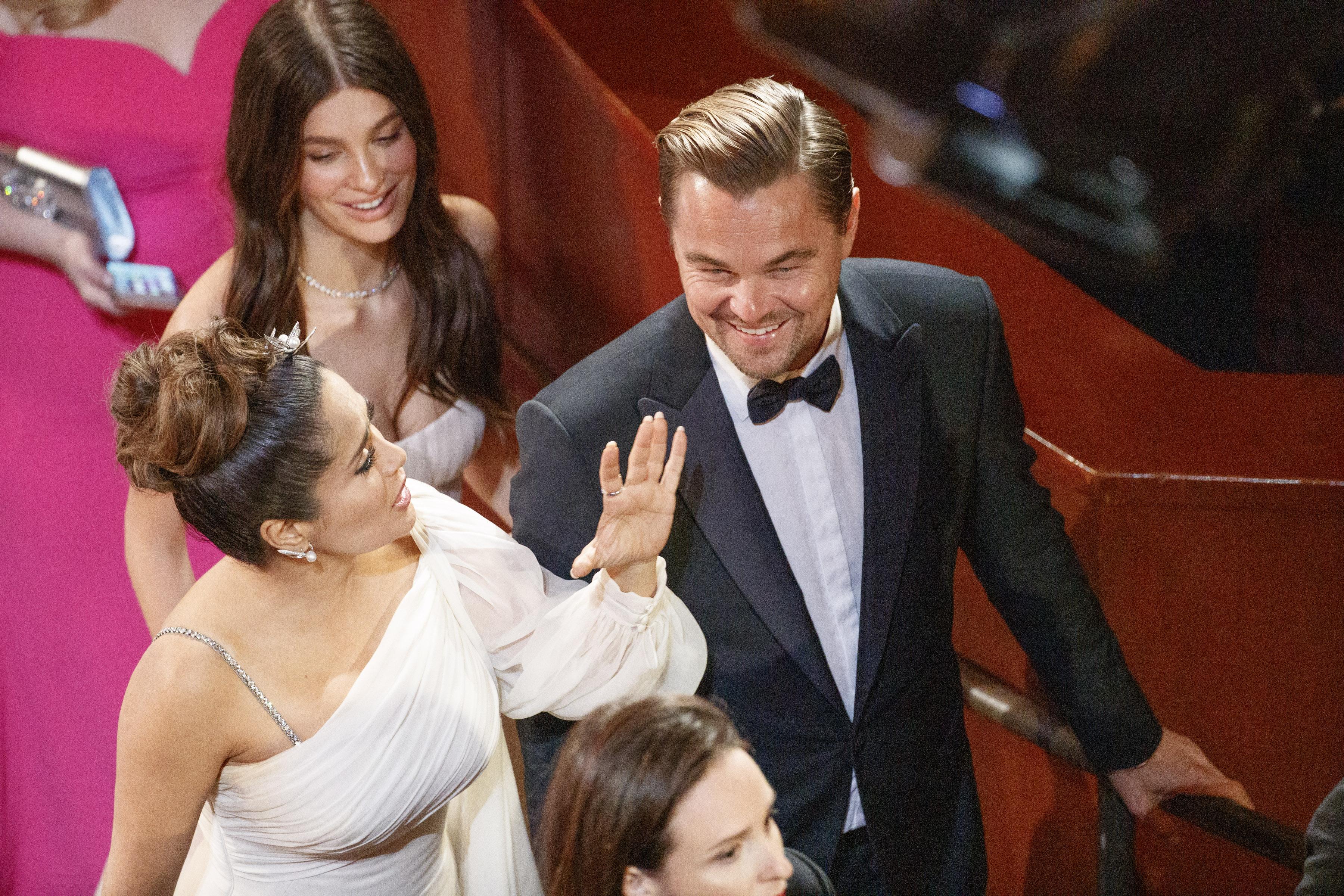 Leonardo DiCaprio and Camila Morrone made separate entrances. (ARTURO HOLMES via Getty Images)
