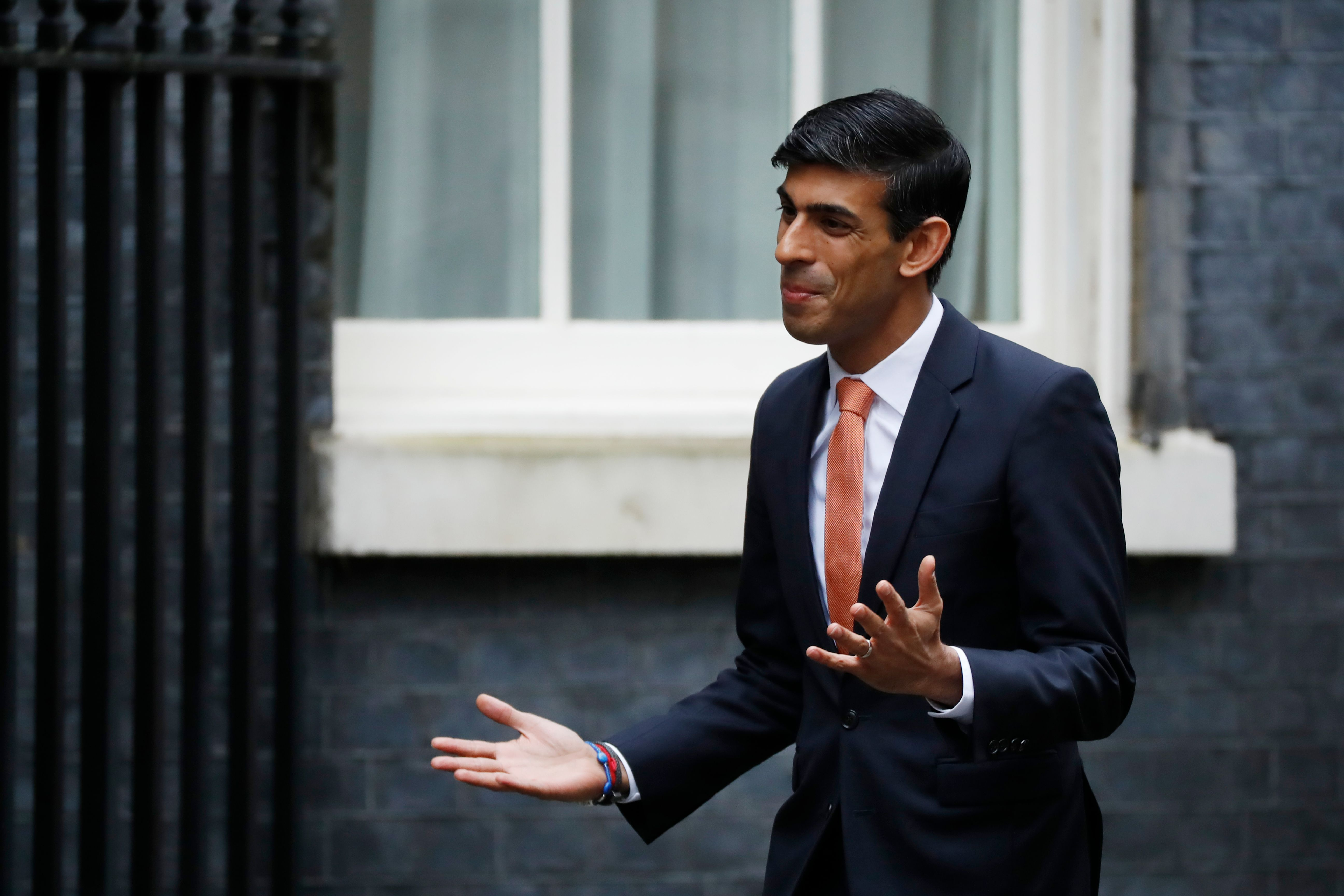Britain's Chief Secretary to the Treasury Rishi Sunak arrives at 10 Downing Street in central London on February 13, 2020 as the prime minister reshuffles his team. - Britain's prime minister revamped his top team on February 13 in his first cabinet reshuffle since taking Britain out of the European Union. (Photo by Tolga AKMEN / AFP) (Photo by TOLGA AKMEN/AFP via Getty Images)