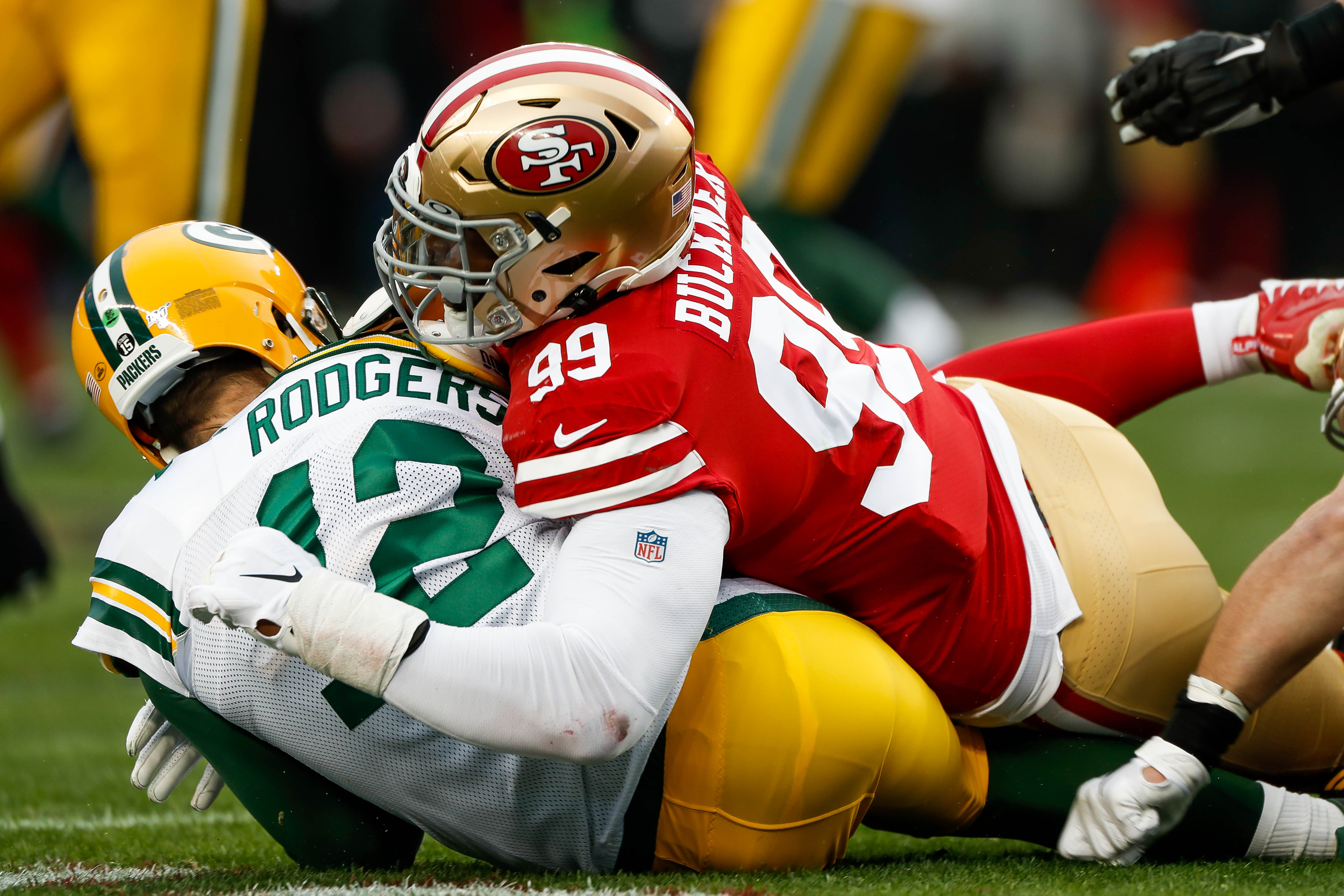 DeForest Buckner and the Niners made life miserable in two games against Packers quarterback Aaron Rodgers, including the NFC championship game. (Randy Vazquez/MediaNews Group/The Mercury News via Getty Images)