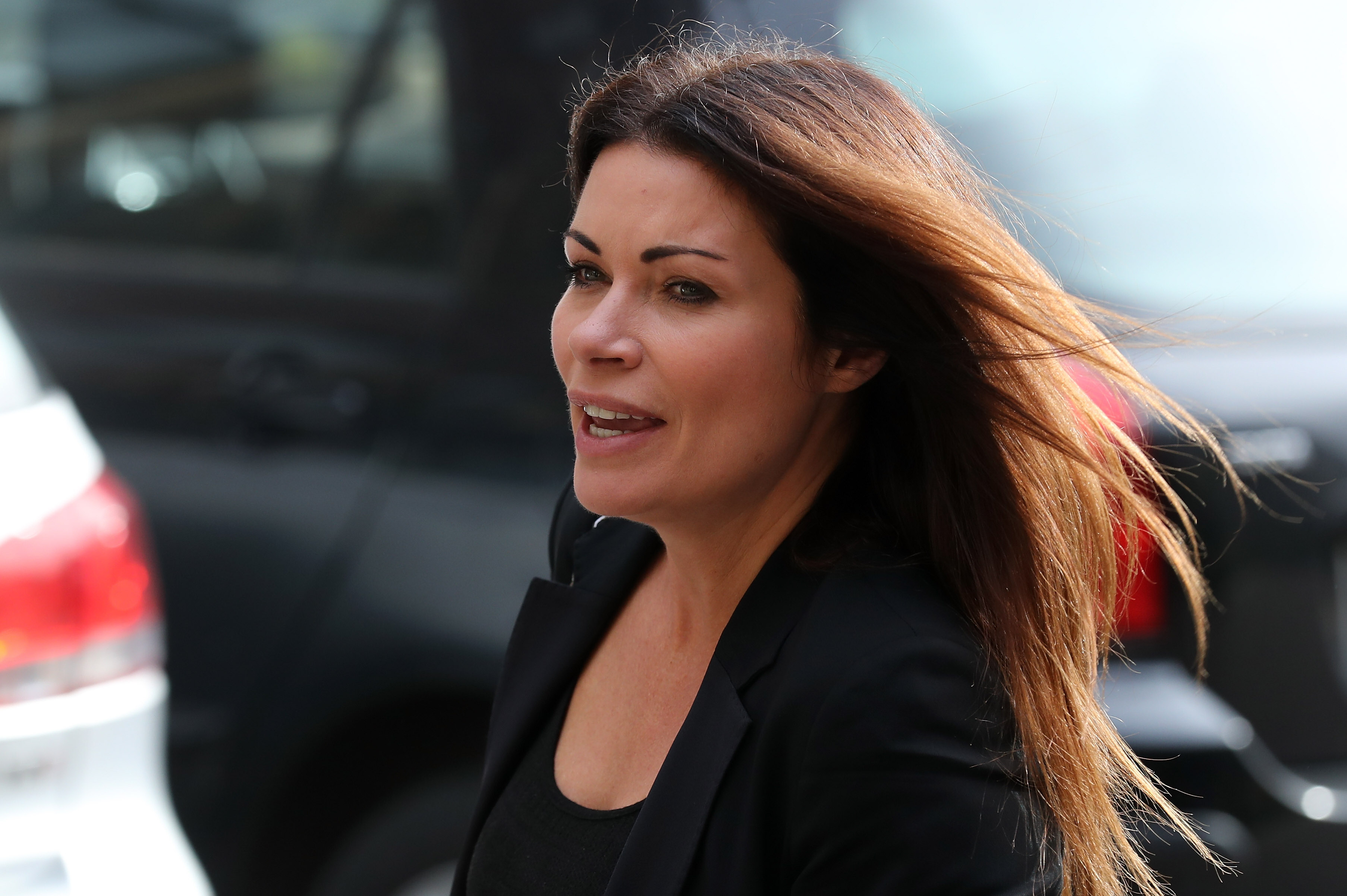 SALFORD, ENGLAND - OCTOBER 06:  Actress Alison King arrive at Salford Cathedral on October 6, 2017 in Salford, England. Actress Liz Dawn who died aged 77, played Vera Duckworth in Coronation Street for 34 years. She was  diagnosed with lung disease emphysema and was written out of the show in 2008 at her own request.  (Photo by Christopher Furlong/Getty Images)