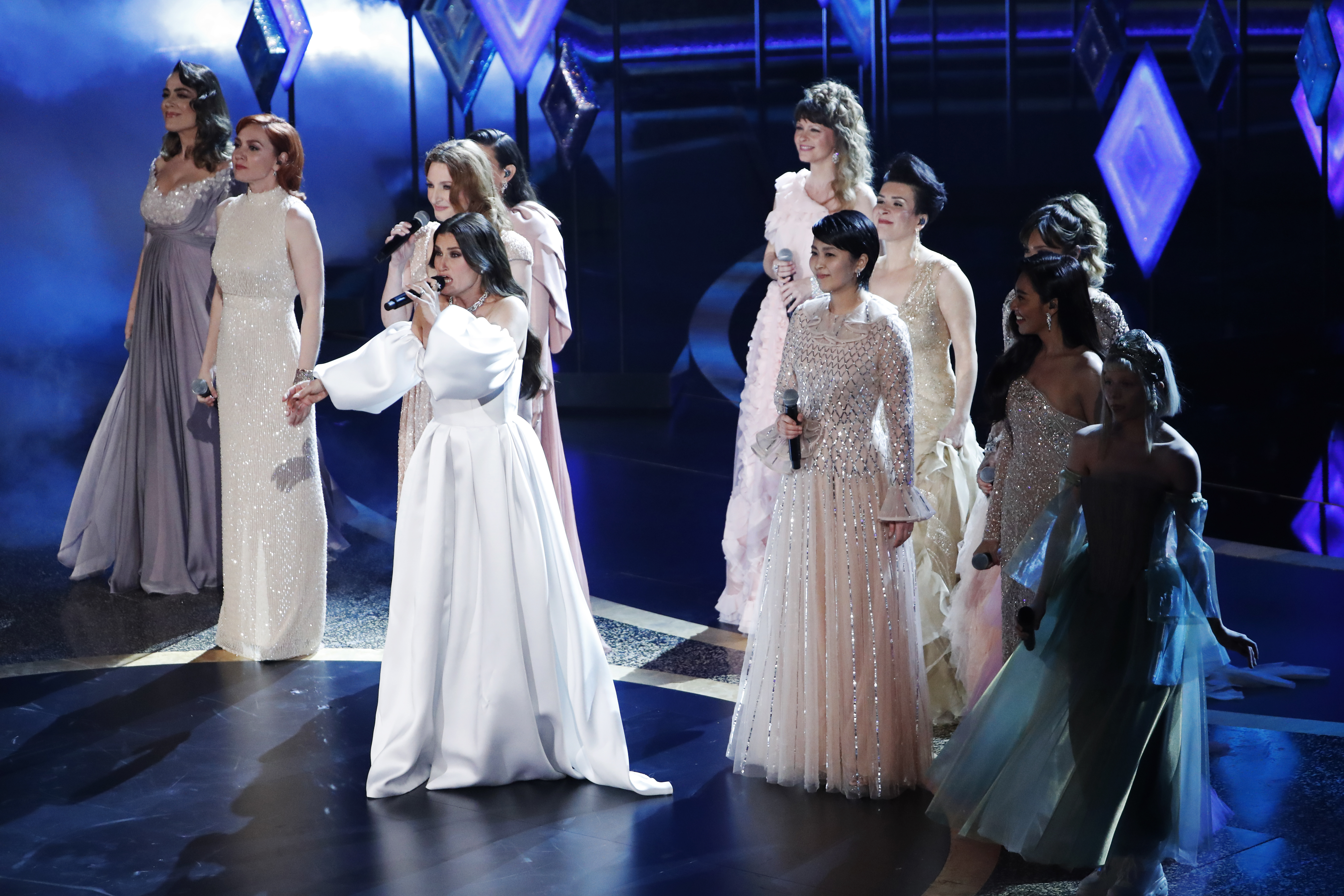 """Idina Menzel, Aurora, and nine performers from around the world perform """"Into the Unknown"""" from """"Frozen II"""" during the Oscars show at the 92nd Academy Awards in Hollywood, Los Angeles, California, U.S., February 9, 2020."""