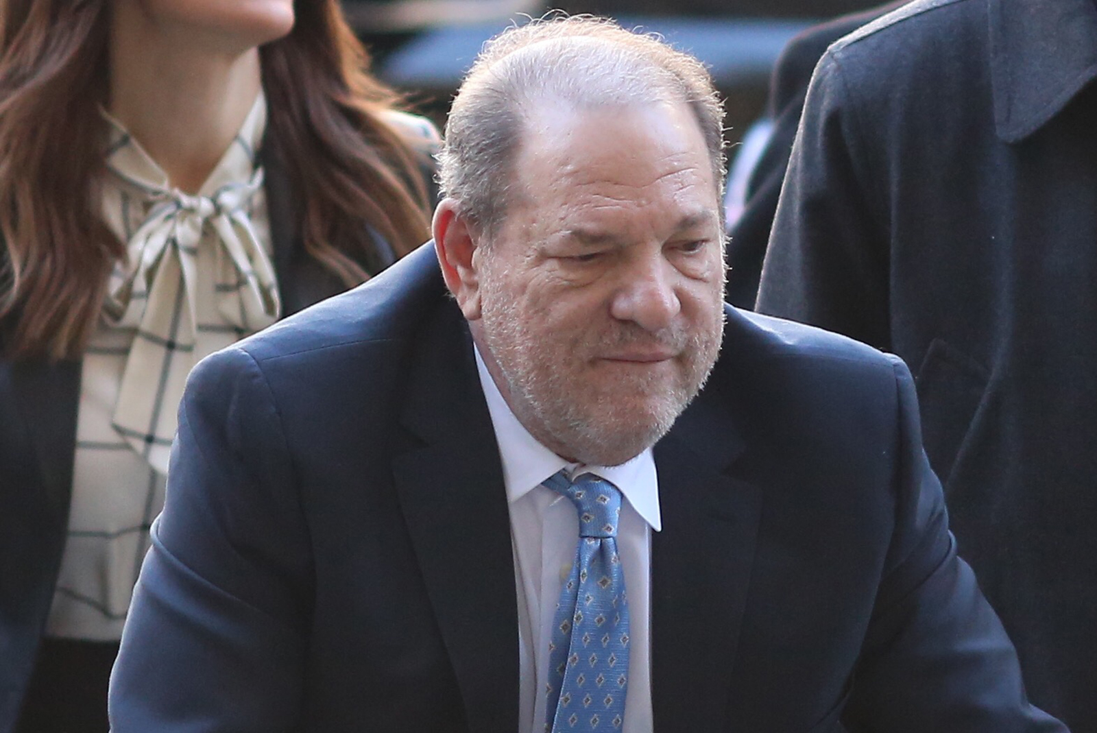 Harvey Weinstein arrives at Manhattan Criminal Court with his attorneys on Feb. 24, 2020. (Alec Tabak/New York Daily News/Tribune News Service via Getty Images)