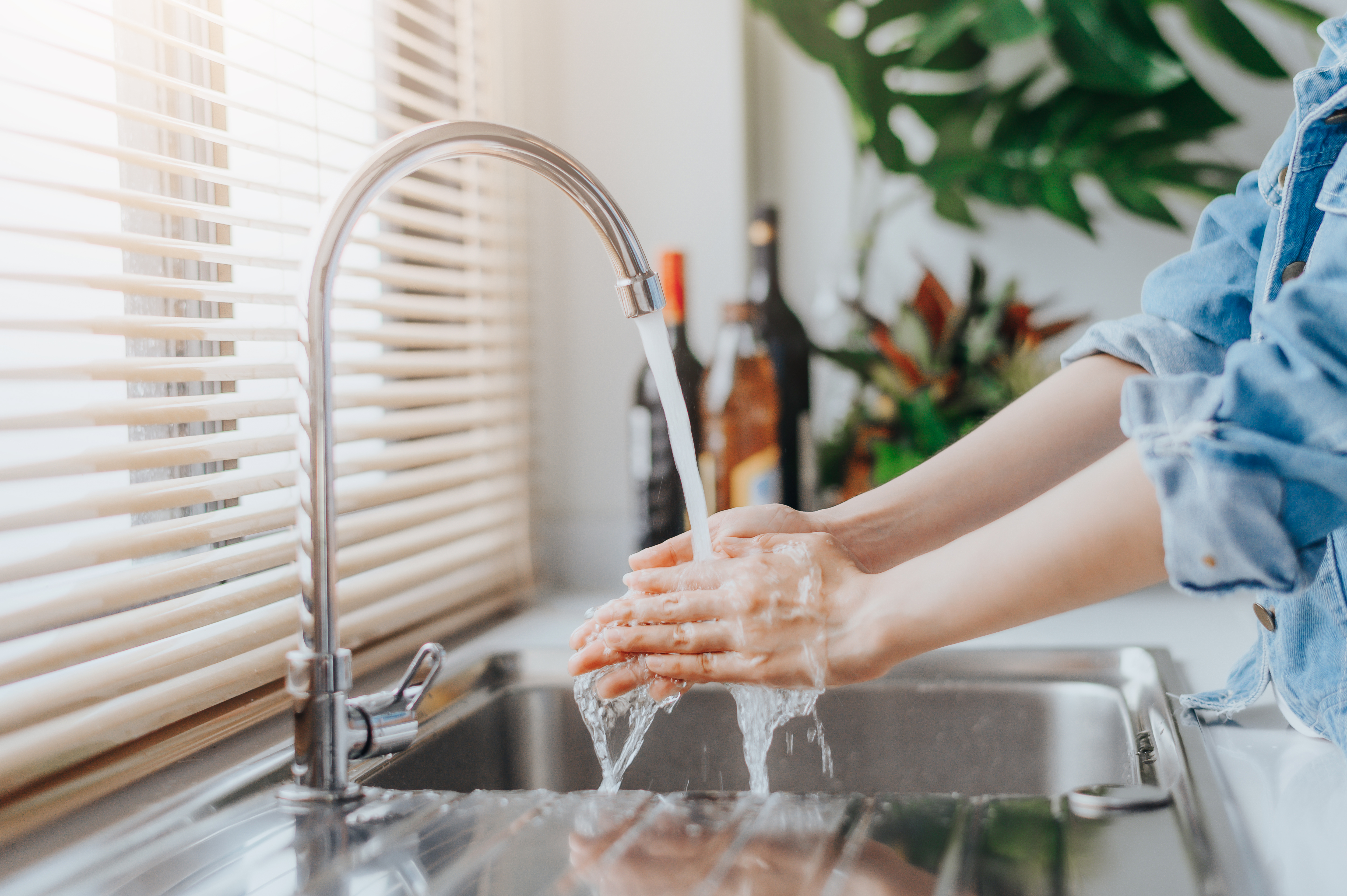 Cropped Image Of Woman Washing Hands At Sink In Kitchen