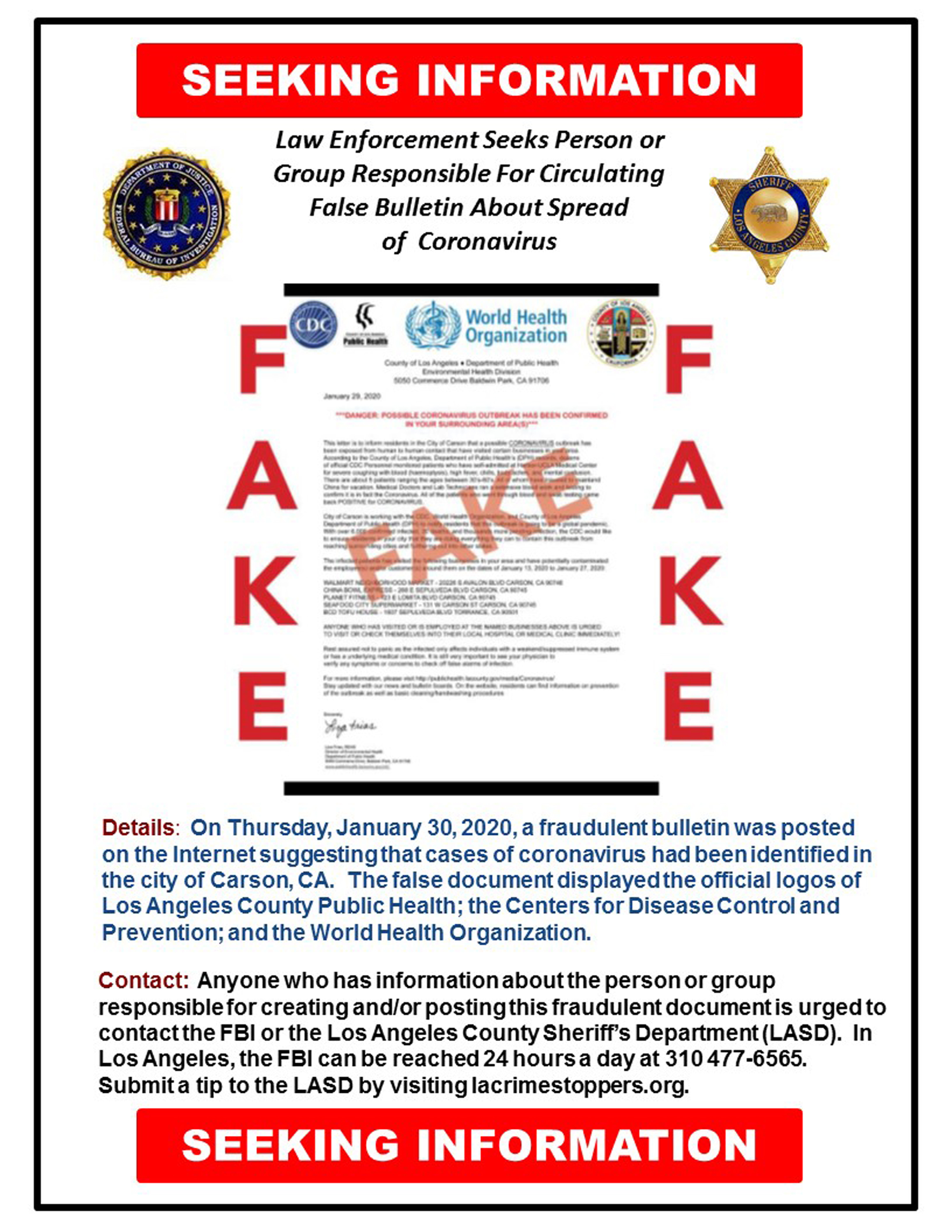 This image posted on the FBI Twitter page, on Tuesday, Feb. 11, 2020, shows a fake document that was posted online, that the FBI and Los Angeles County Sheriff's Department are investigating. The realistic-looking document, asserting the novel coronavirus was detected in the city of Carson, Calif, had the official logos of Los Angeles County Public Health, the Centers for Disease Control and Prevention and the World Health Organization, and has been strongly denounced by local officials. (FBI via AP)  (FBI via AP)