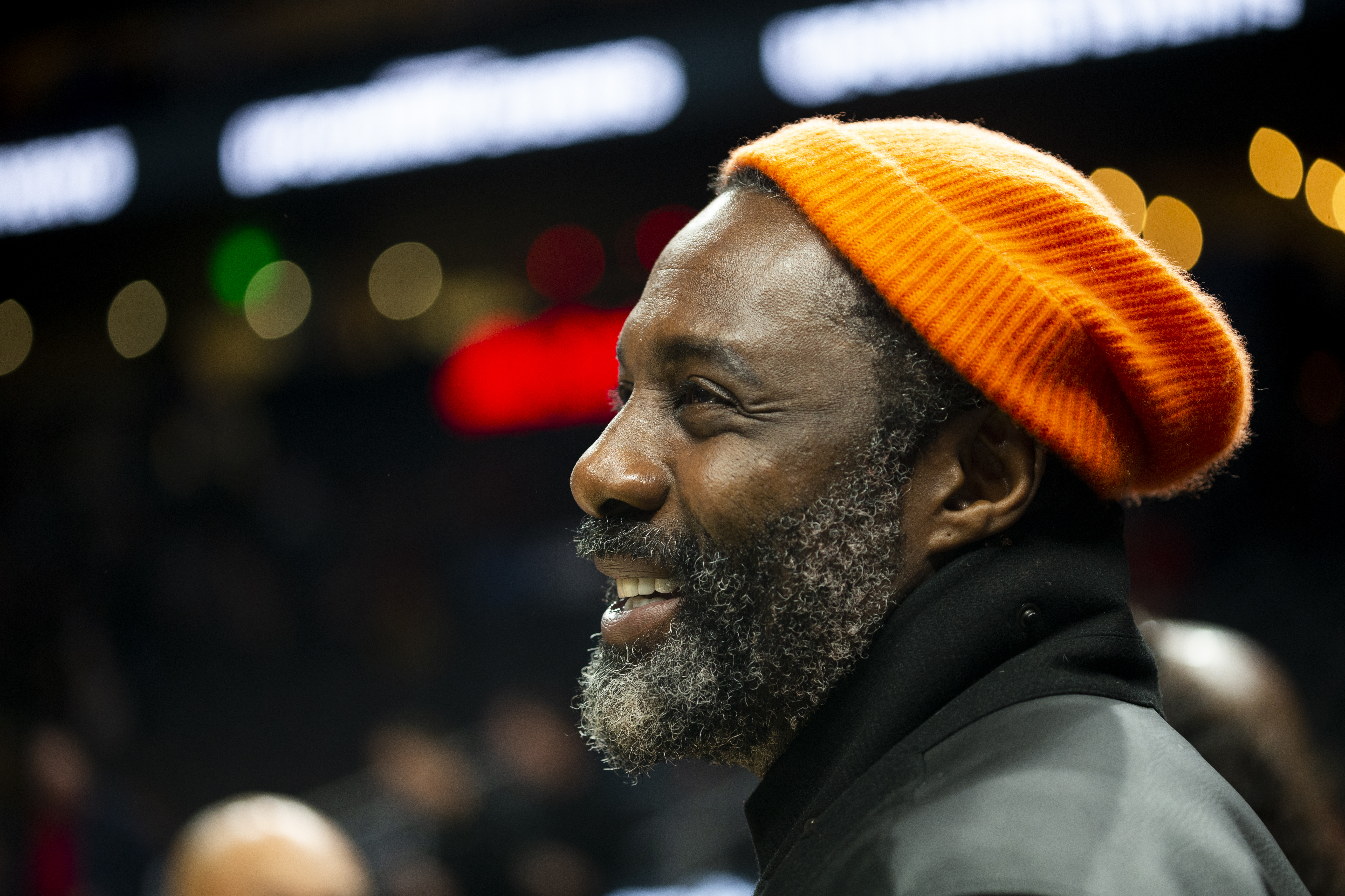 ATLANTA, GA - NOVEMBER 23: Idris Elba attends the game between the Atlanta Hawks and the Toronto Raptors at State Farm Arena on November 23, 2019 in Atlanta, Georgia. NOTE TO USER: User expressly acknowledges and agrees that, by downloading and or using this photograph, User is consenting to the terms and conditions of the Getty Images License Agreement. (Photo by Carmen Mandato/Getty Images)
