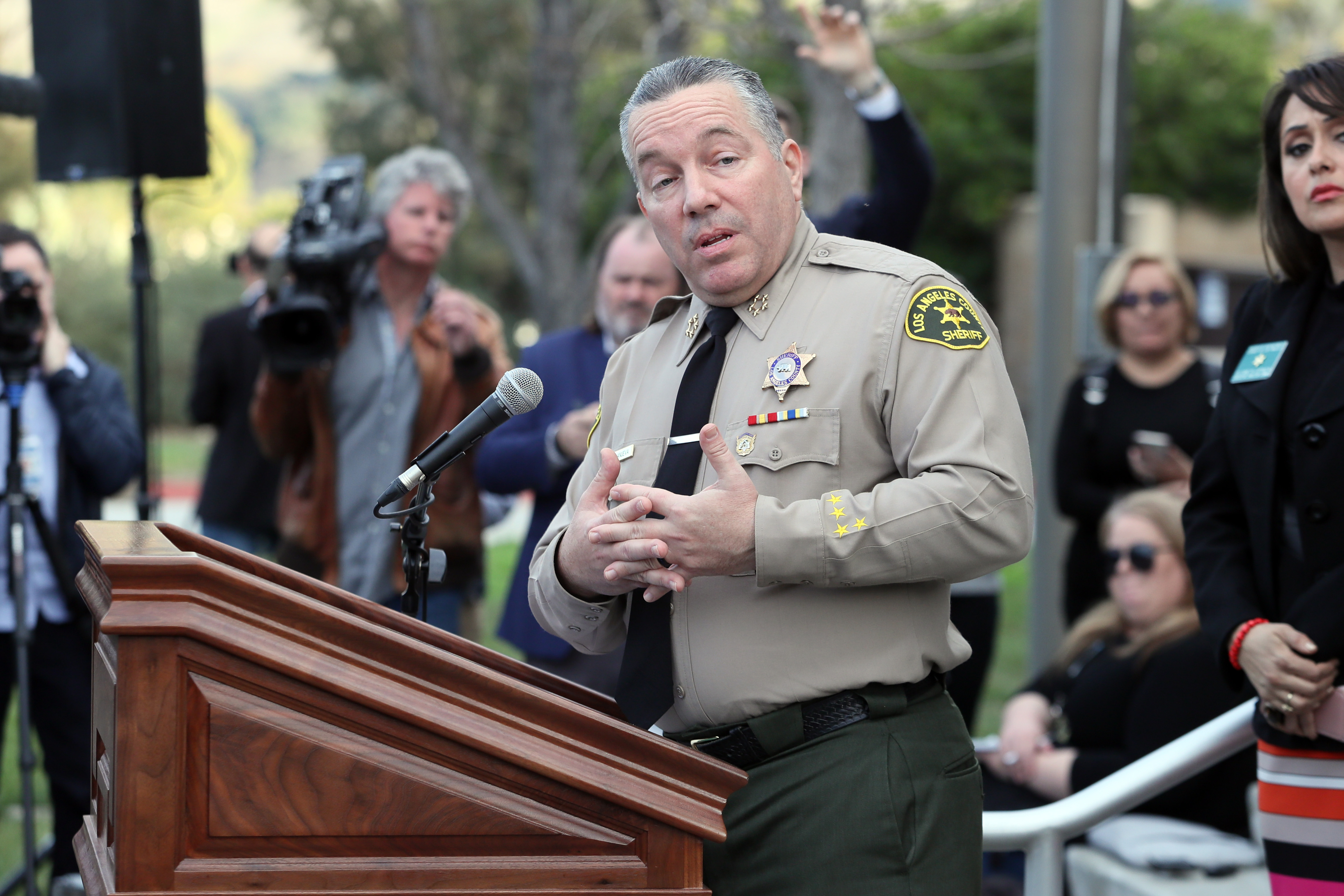 Sheriff Alex Villanueva says he ordered deputies to delete photos from the Bryant crime scene. (Photo by Josh Lefkowitz/Getty Images)