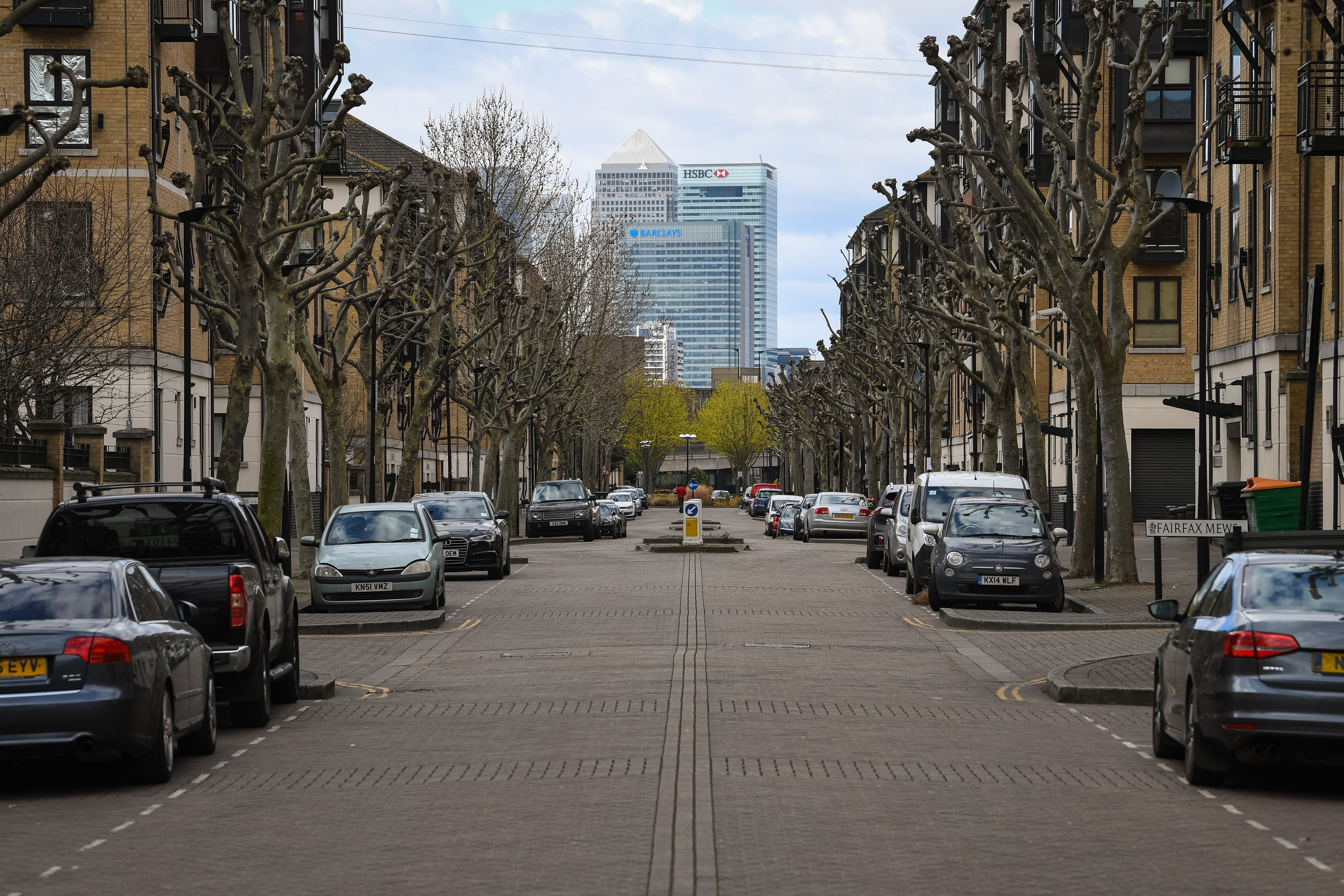 Empty streets within sight of Canary Wharf, in east London, as the UK continues in lockdown to help curb the spread of the coronavirus.