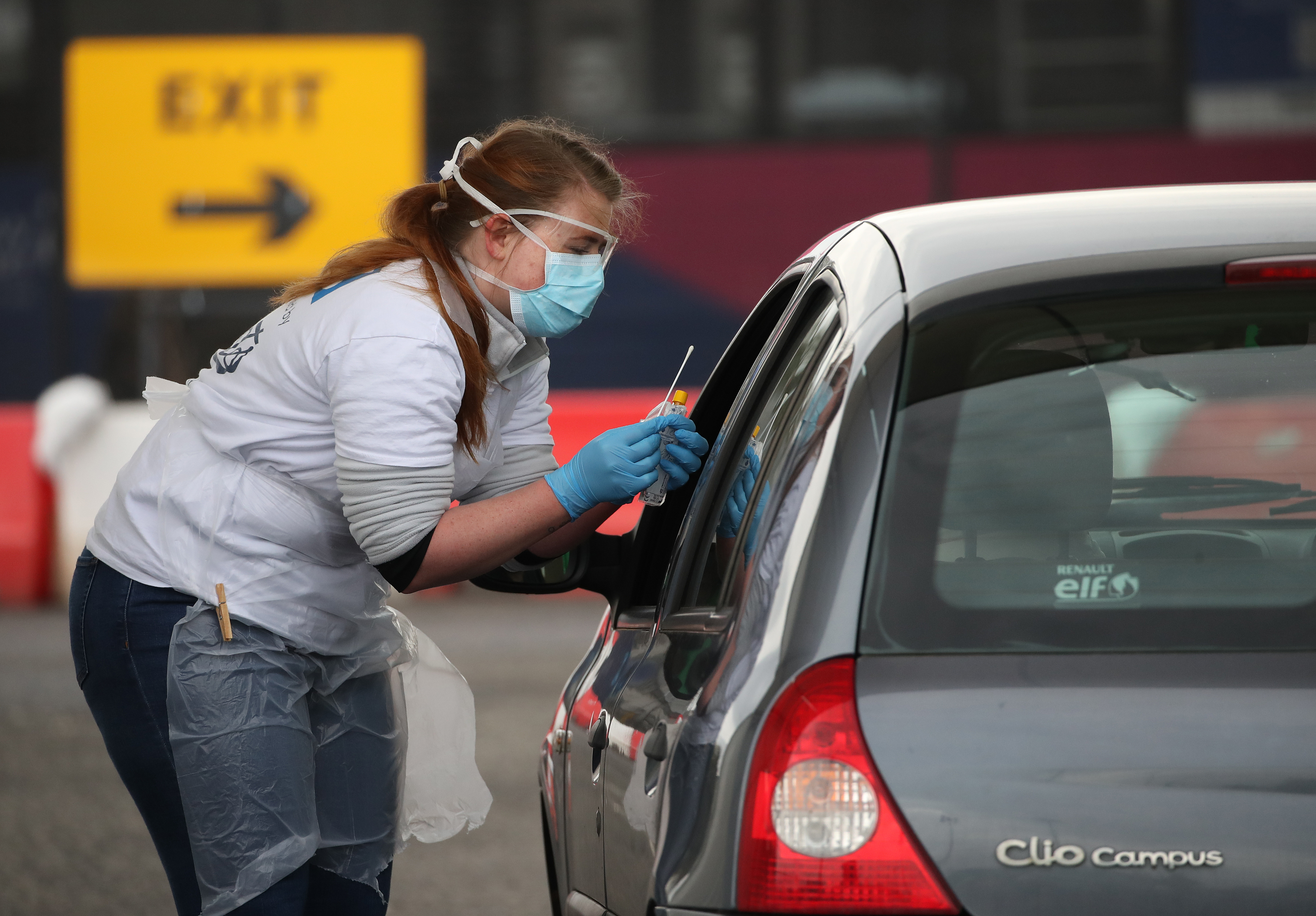 A test sample is taken at a Covid-19 testing centre at Glasgow Airport, as the UK continues in lockdown to help curb the spread of the coronavirus.