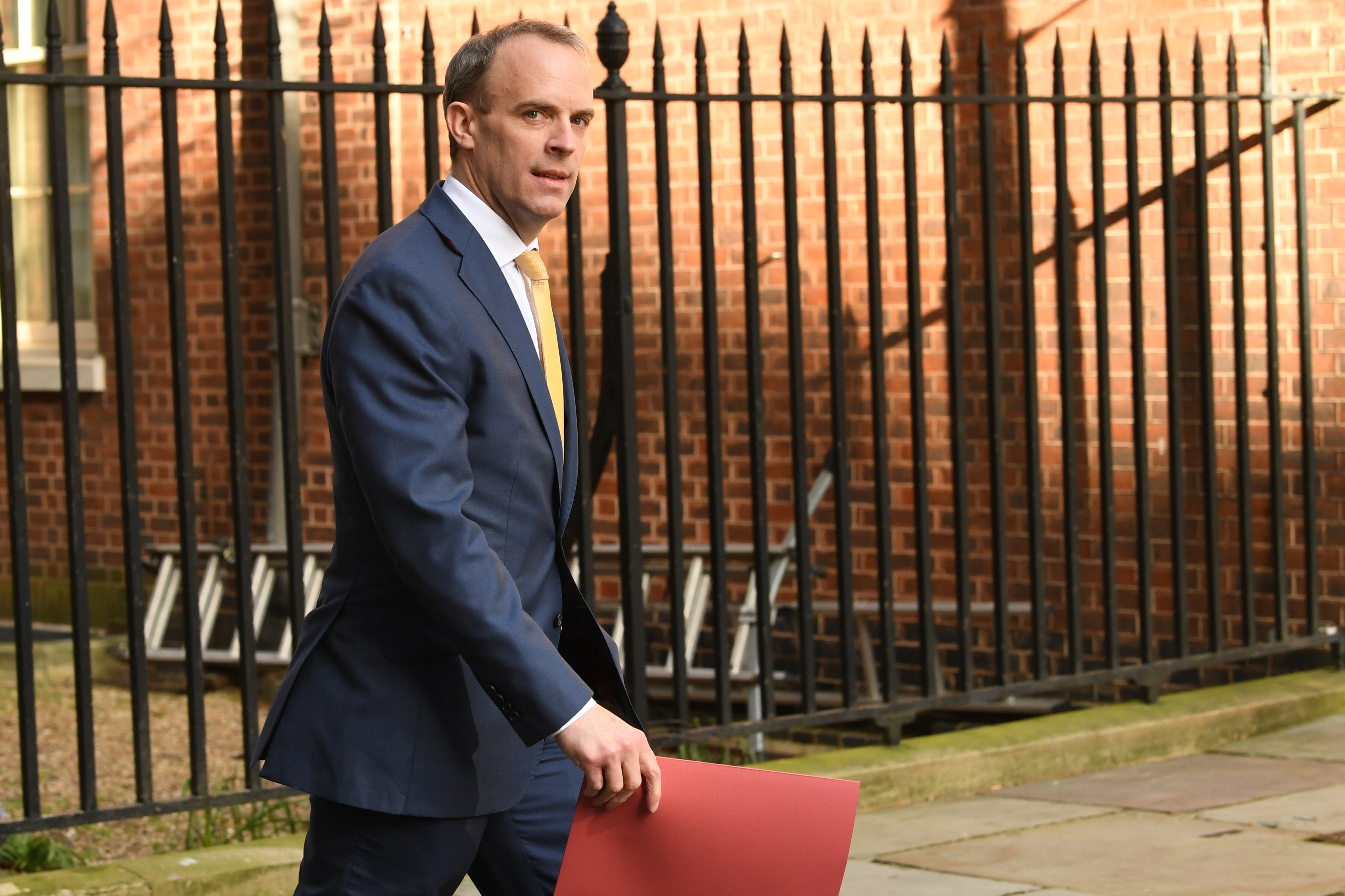 Foreign Secretary Dominic Raab, who is taking charge of the Government's response to the coronavirus crisis after Prime Minister Boris Johnson was admitted to intensive care Monday, arrives at 10 Downing Street, London.