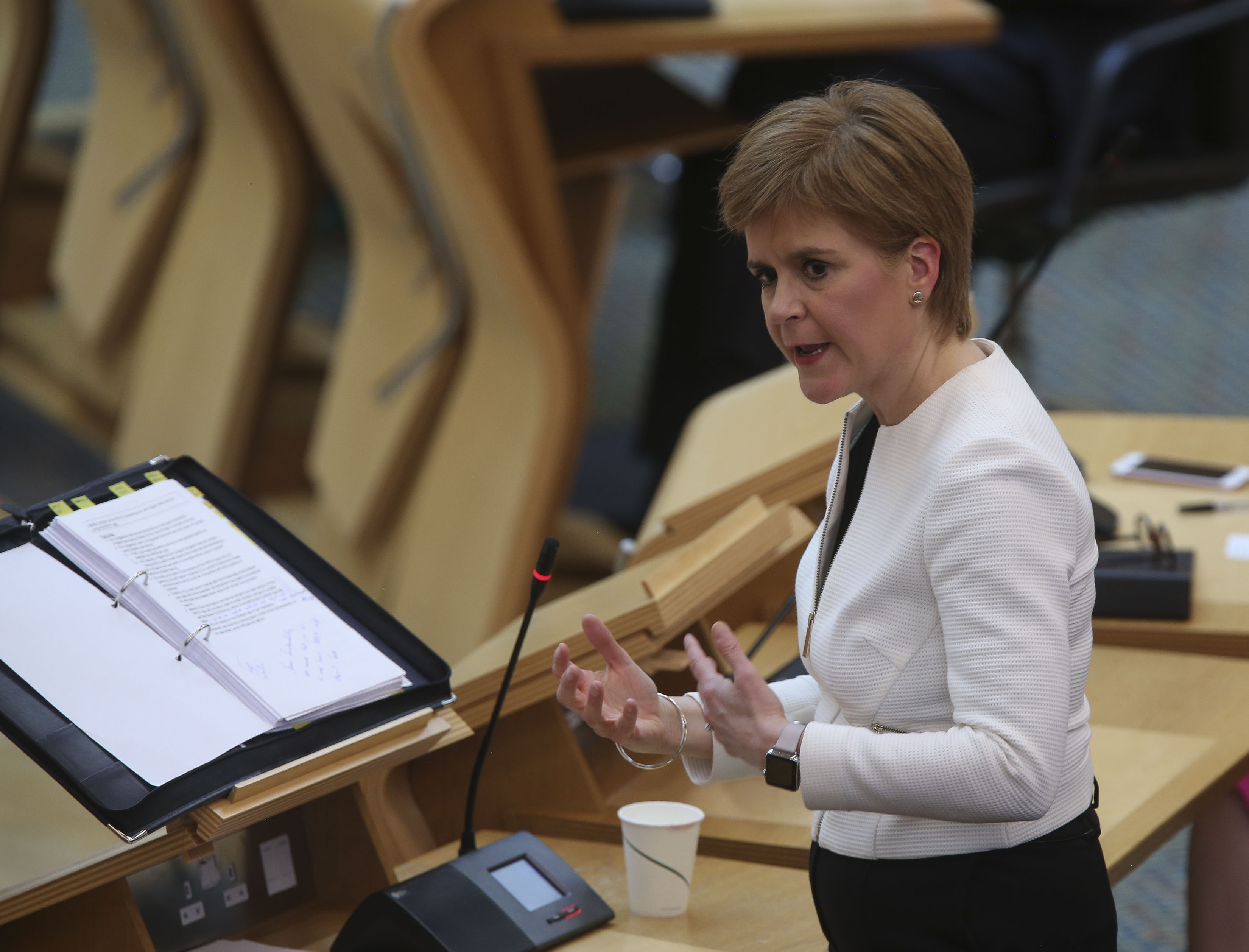 Nicola Sturgeon during Covid-19 social distancing First Minister's Questions at the Scottish Parliament, Edinburgh.