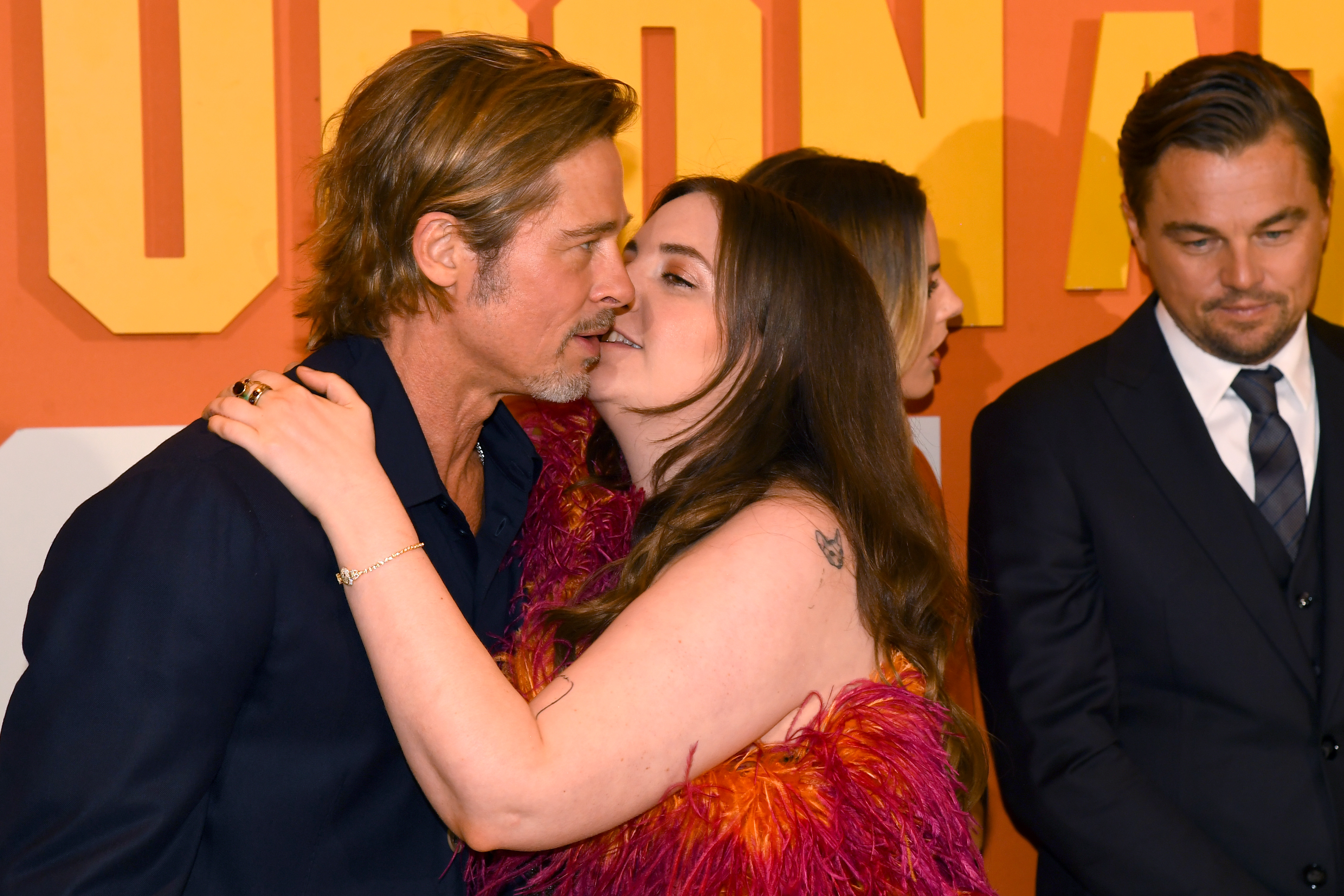 """Brad Pitt and Lena Dunham attend the """"Once Upon a Time... in Hollywood""""  UK Premiere at Odeon Luxe Leicester Square on July 30, 2019 in London, England. (Photo by Dave J Hogan/Getty Images)"""