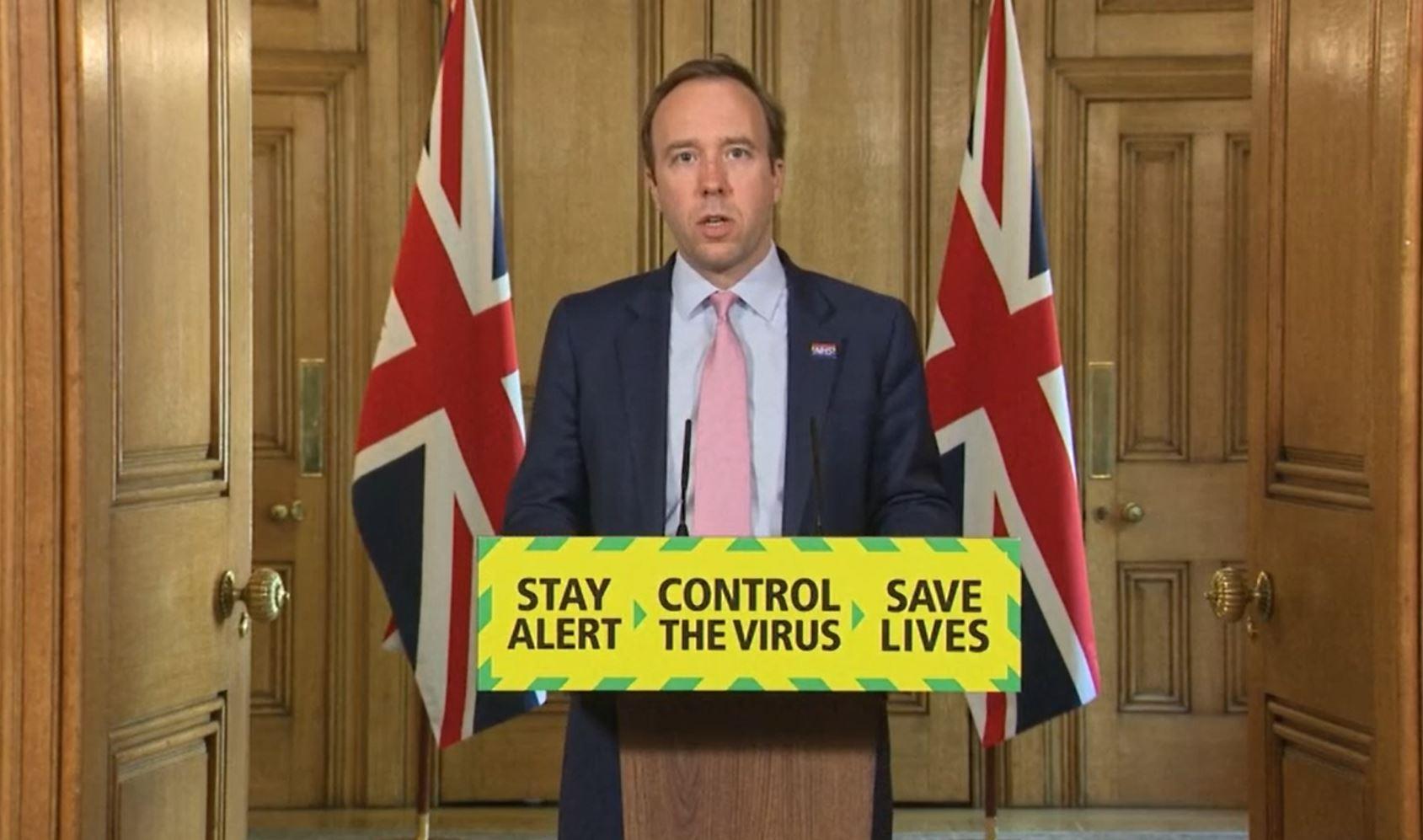 Health and Social Care Secretary Matt Hancock during a media briefing in Downing Street, London, on coronavirus (COVID-19).
