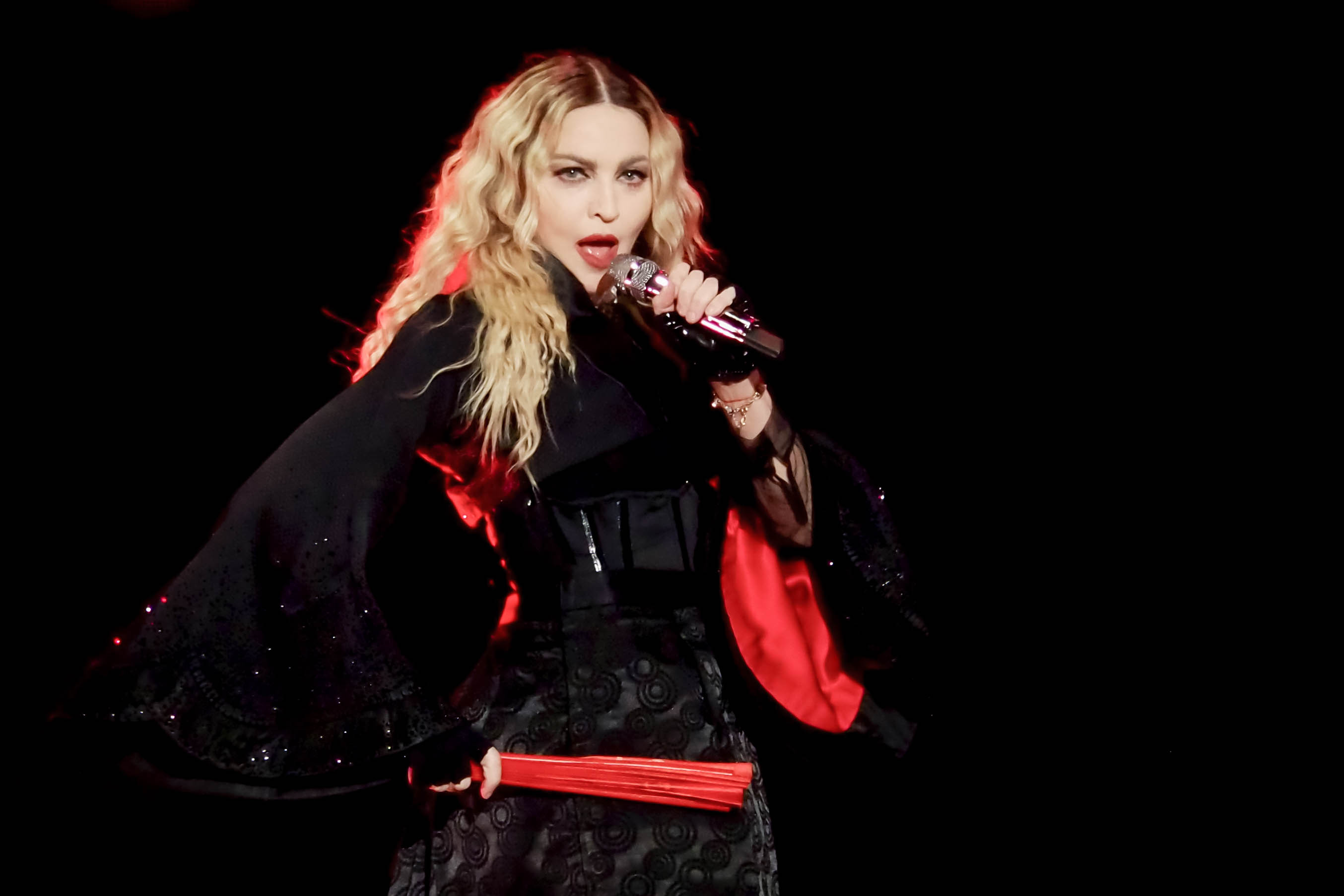The singer and actress Madonna (Madonna Louise Veronica Ciccone) in concert at the Pala Alpitour in Turin during a stage of her Rebel Heart World Tour. Turin (Italy) November 21st, 2015 (Photo by Marco Piraccini/Archivio Marco Piraccini/Mondadori Portfolio via Getty Images)