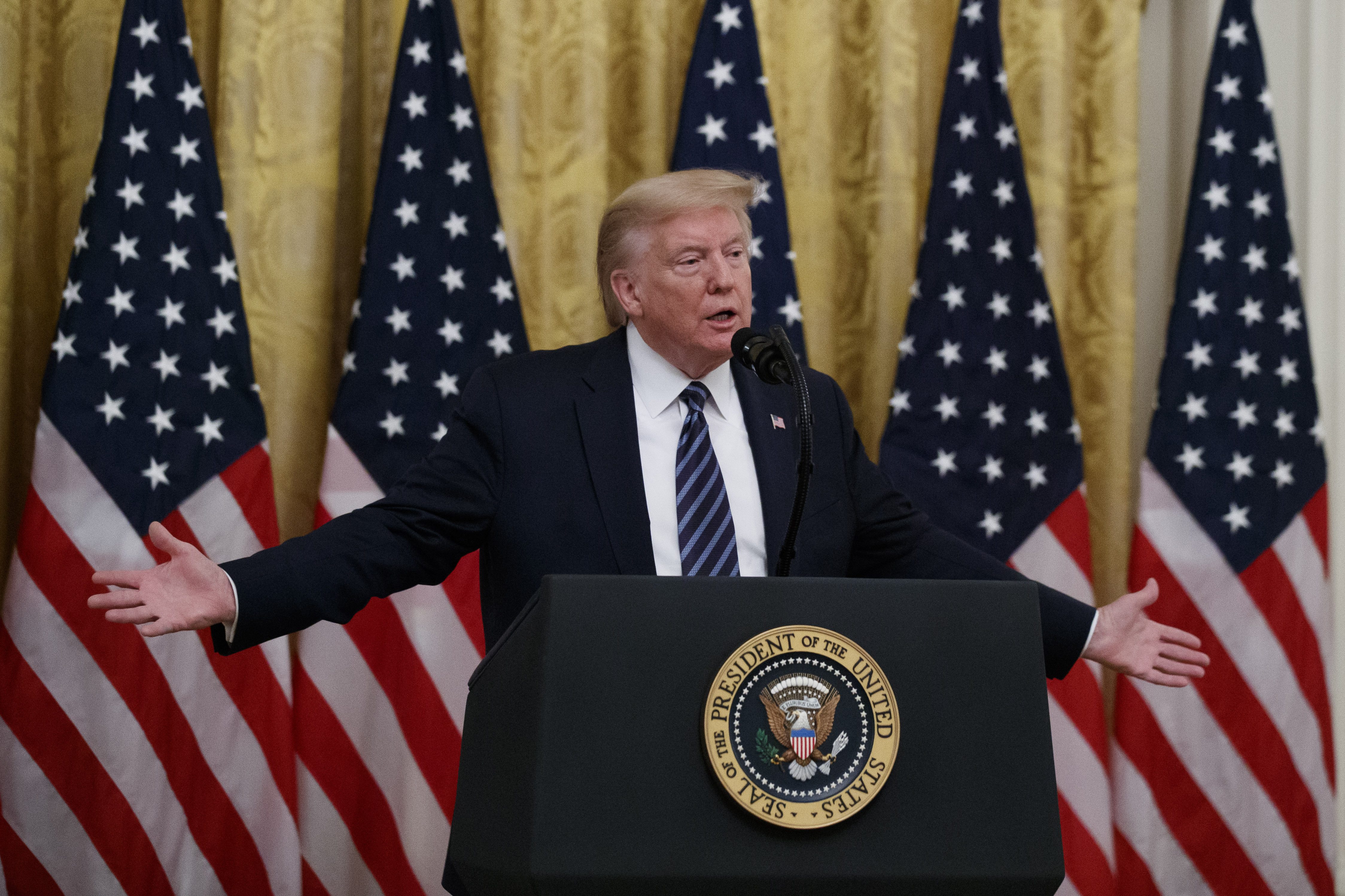 President Donald Trump speaks about protecting seniors, in the East Room of the White House, Thursday, April 30, 2020, in Washington. (AP Photo/Alex Brandon)