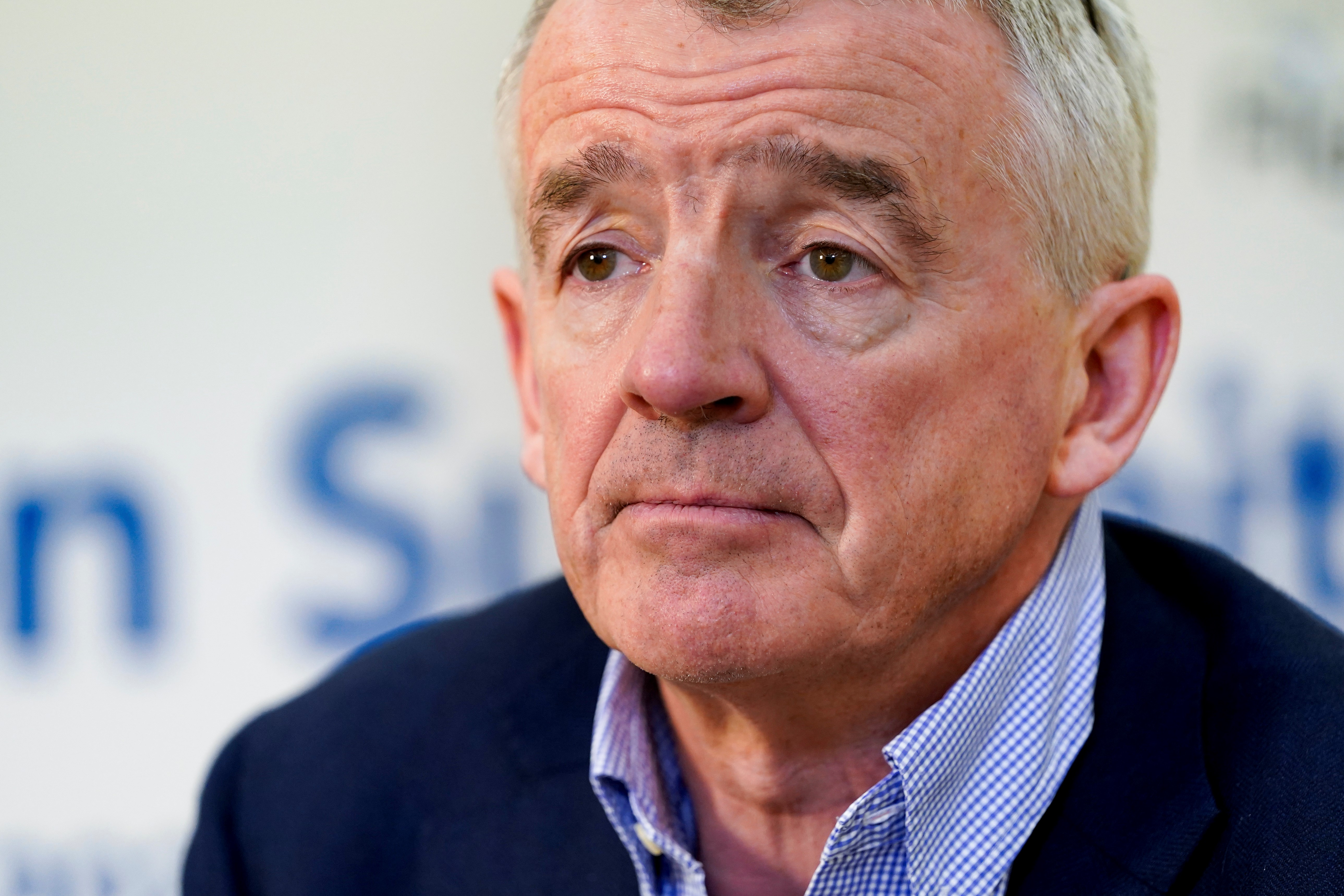 Ryanair CEO Michael O'Leary gestures during an AFP interview at A4E aviation summit in Brussels on March 3, 2020. (Photo by Kenzo TRIBOUILLARD / AFP) (Photo by KENZO TRIBOUILLARD/AFP via Getty Images)