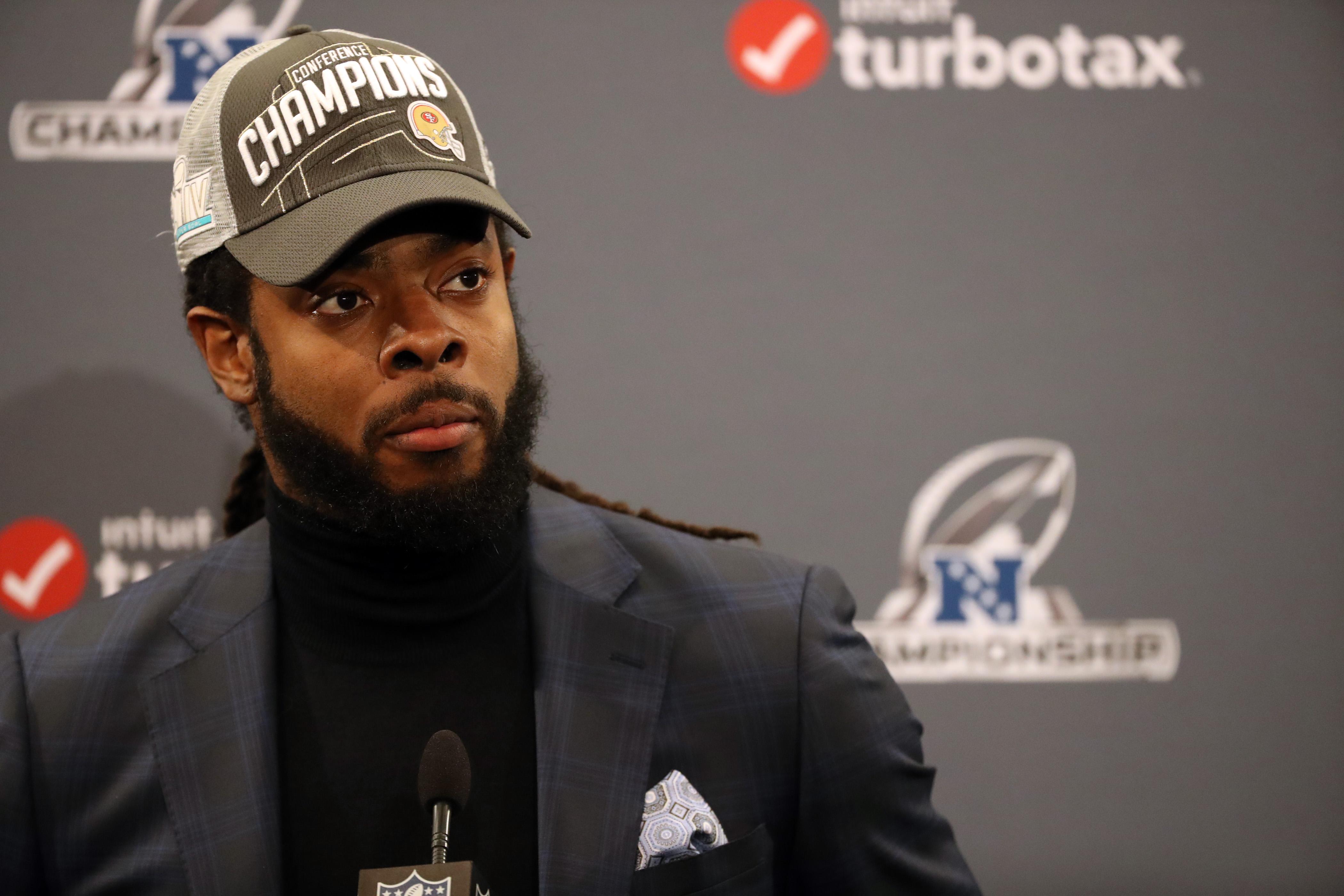 """Richard Sherman doesn't think it's right that Cam Newton is being paid less than """"less talented"""" quarterbacks. (Photo by Kiyoshi Mio/Icon Sportswire via Getty Images)"""