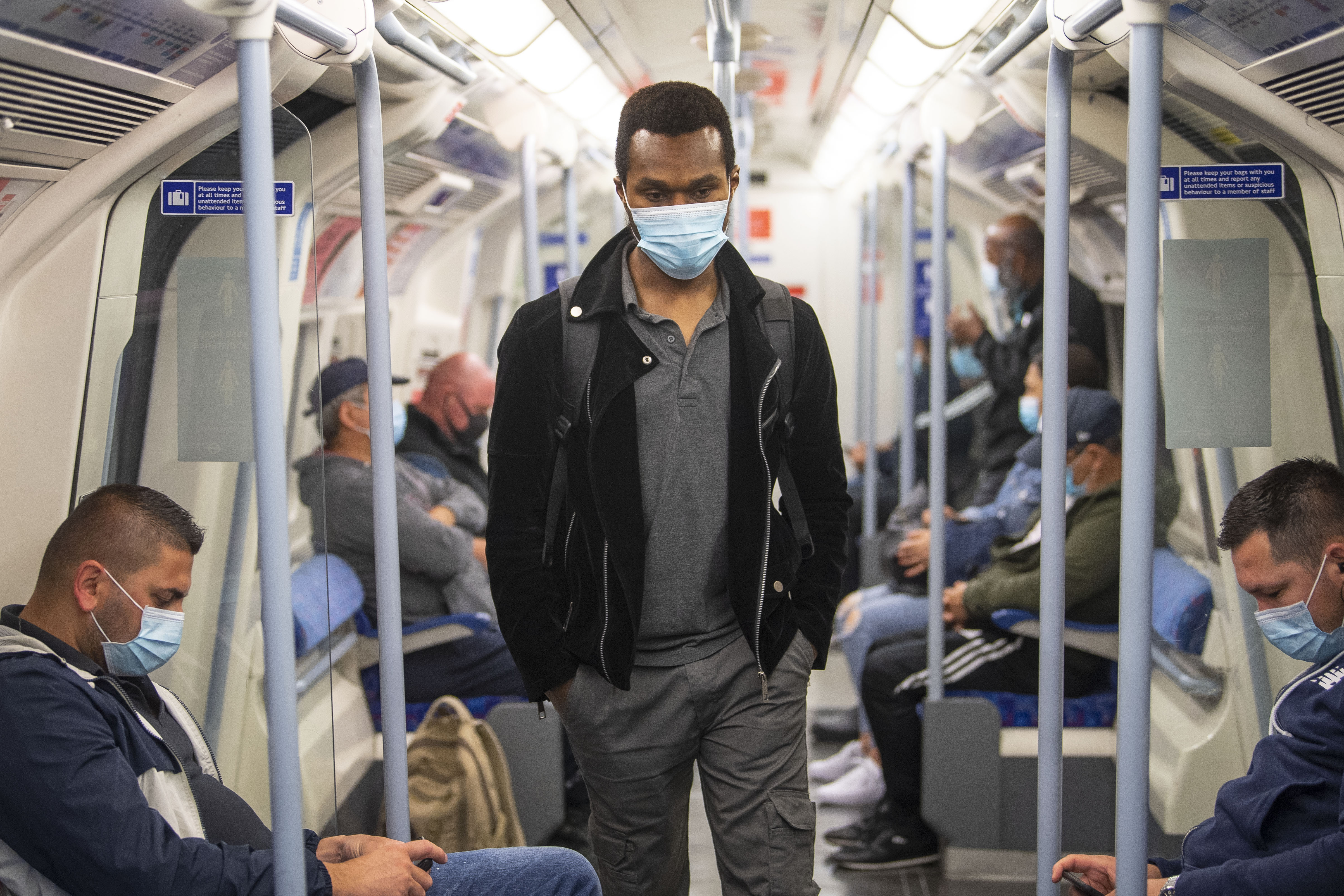 Passengers wearing face masks on the Jubilee Line in East London as face coverings become compulsory on public transport in England with the easing of further lockdown restrictions during the coronavirus pandemic. (Photo by Victoria Jones/PA Images via Getty Images)