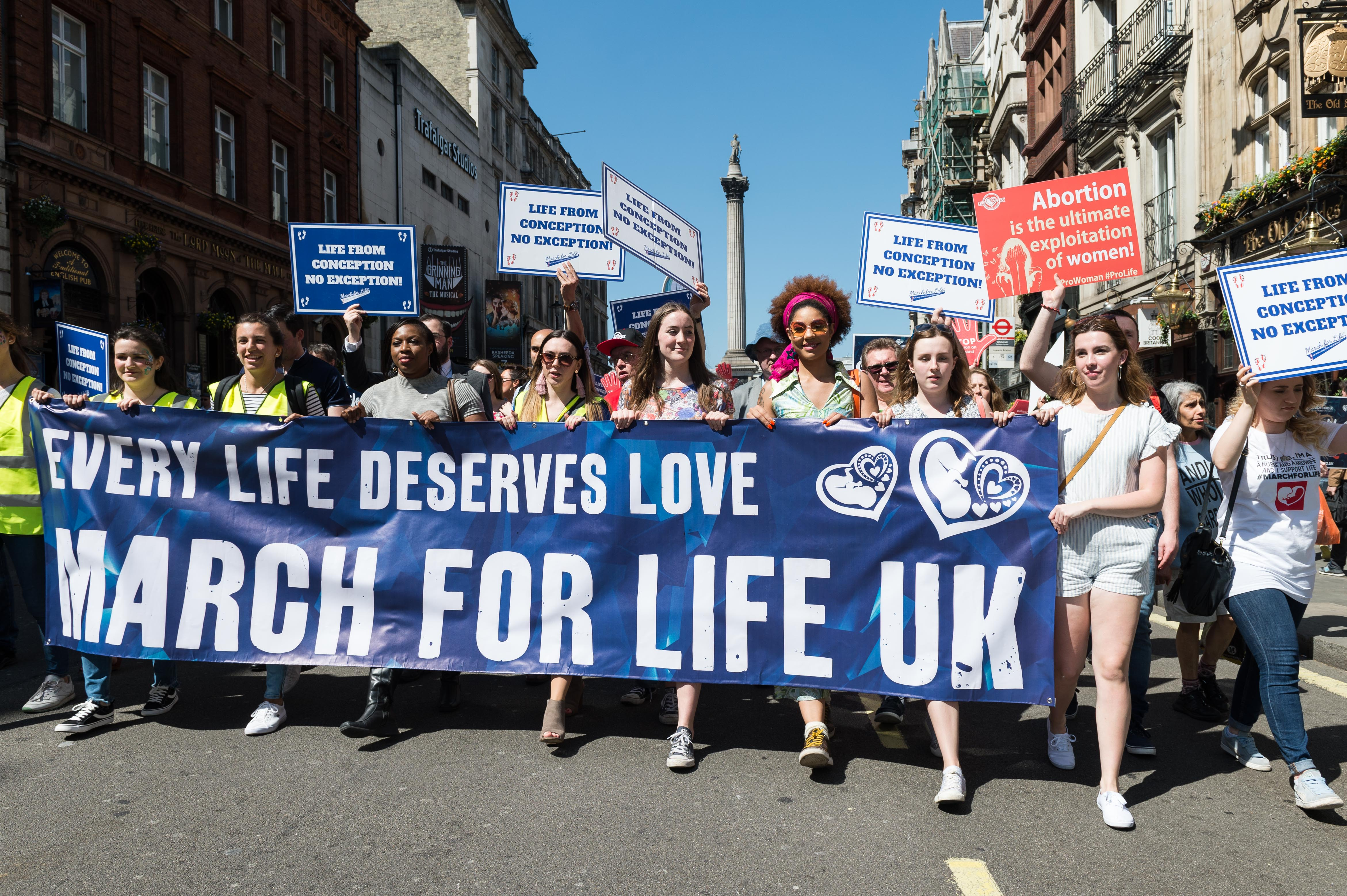 LONDON, UNITED KINGDOM - MAY 05: Thousands of anti-abortion supporters take part in the 5th annual 'March For Life' through central London followed by a rally in Parliament Square. May 05, 2018 in London, United Kingdom. (Photo credit should read Wiktor Szymanowicz / Barcroft Media via Getty Images)