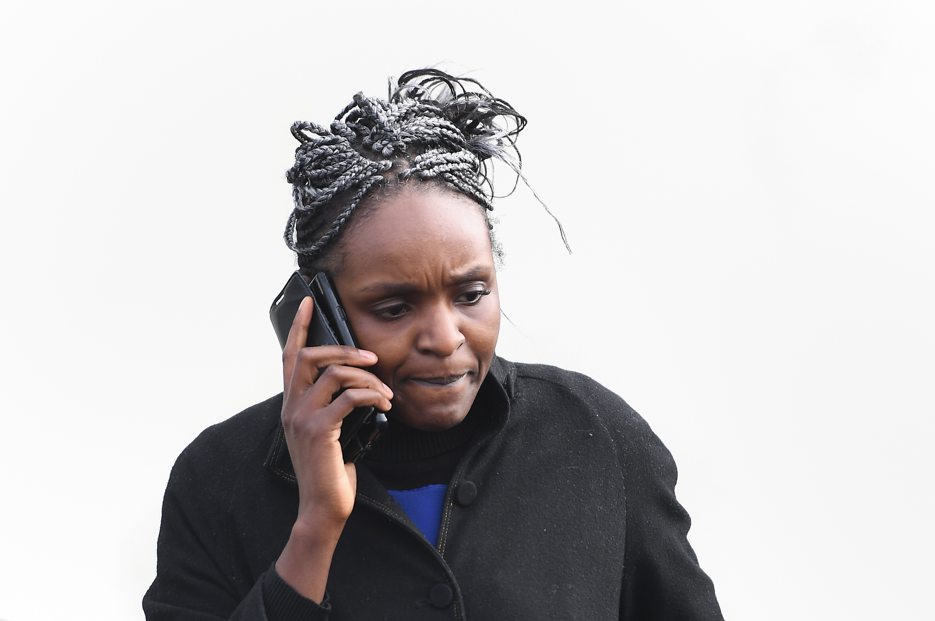 MP Fiona Onasanya outside her home in Peterborough, as voters are being given the opportunity to sign a petition to force a by-election following her conviction for lying about a speeding offence.