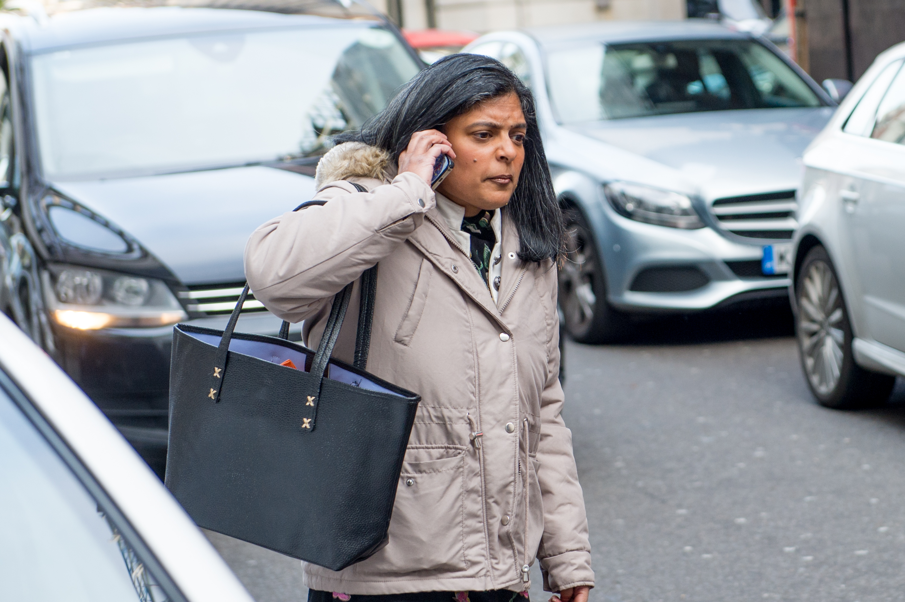 LONDON, ENGLAND - NOVEMBER 17:Rupa Huq MP attempts to get a taxi to leave the BBC while being followed by anti semitism activists before having to go inside to get away from their cameras at BBC Broadcasting House on November 17, 2019 in London, England. (Photo by Ollie Millington/Getty Images)