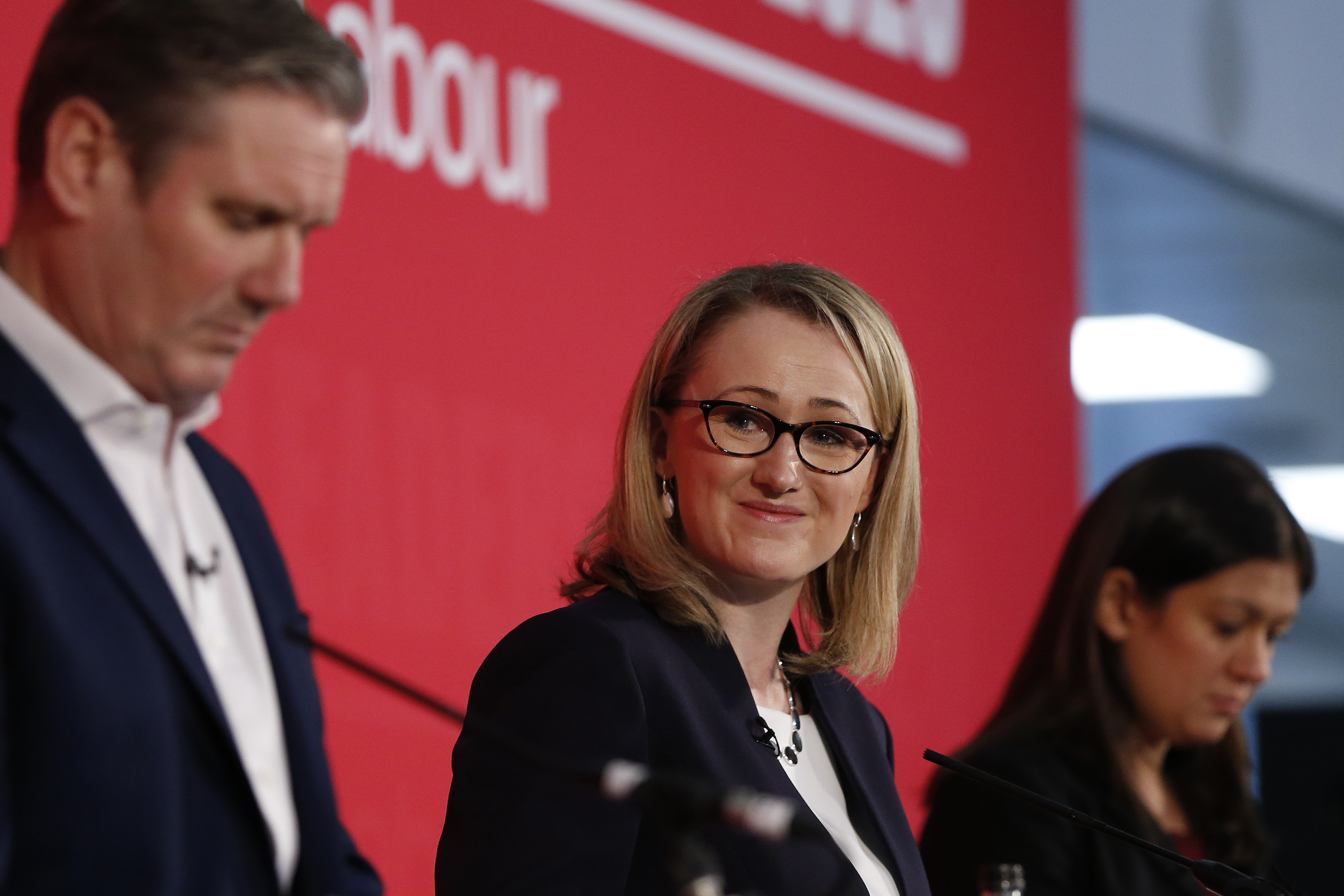 LONDON, ENGLAND - FEBRUARY 16: Sir Keir Starmer, Rebecca Long-Bailey and Lisa Nandy speaking at a hustings event for Labour Leader and Deputy Leader, hosted by the Co-operative Party, at the Business Design Centre on February 16, 2020 in London, England. Sir Keir Starmer, Rebecca Long-Bailey and Lisa Nandy are vying to replace Labour leader Jeremy Corbyn, who offered to step down following his party's loss in the December 2019 general election. (Photo by Hollie Adams/Getty Images)